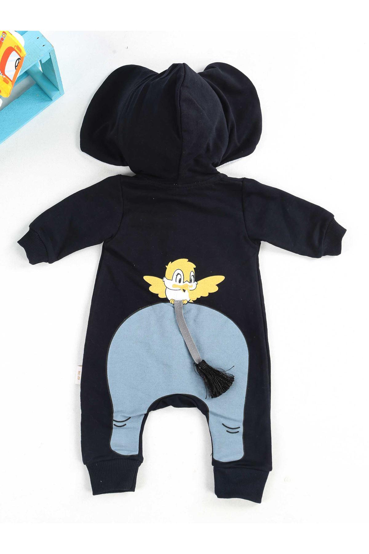 Lacivert Kapşonlu Erkek Bebek Tulum