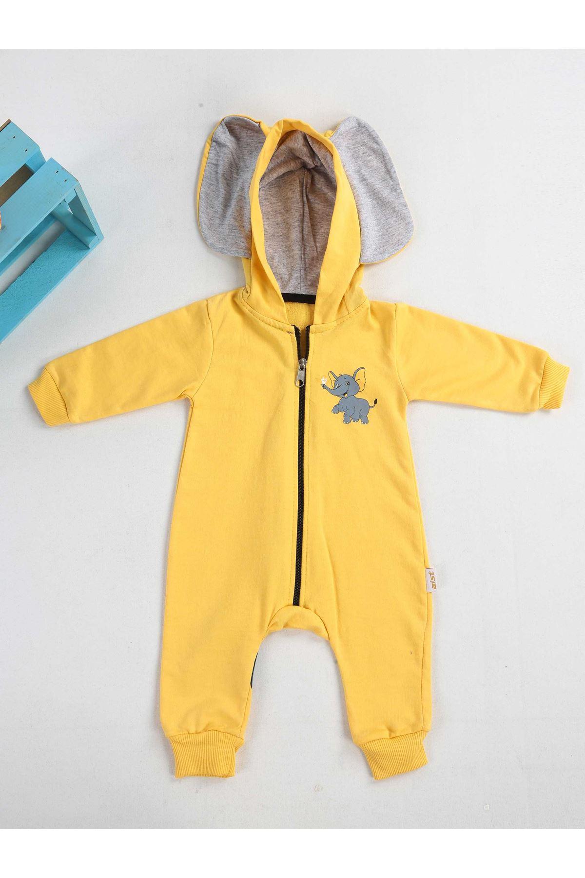Sarı Kapşonlu Erkek Bebek Tulum