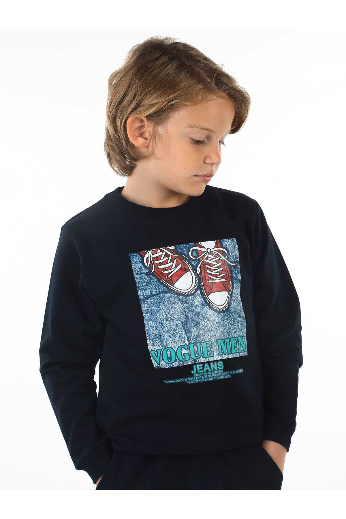 Navy Blue Seasonal Male Child Sweatshirt