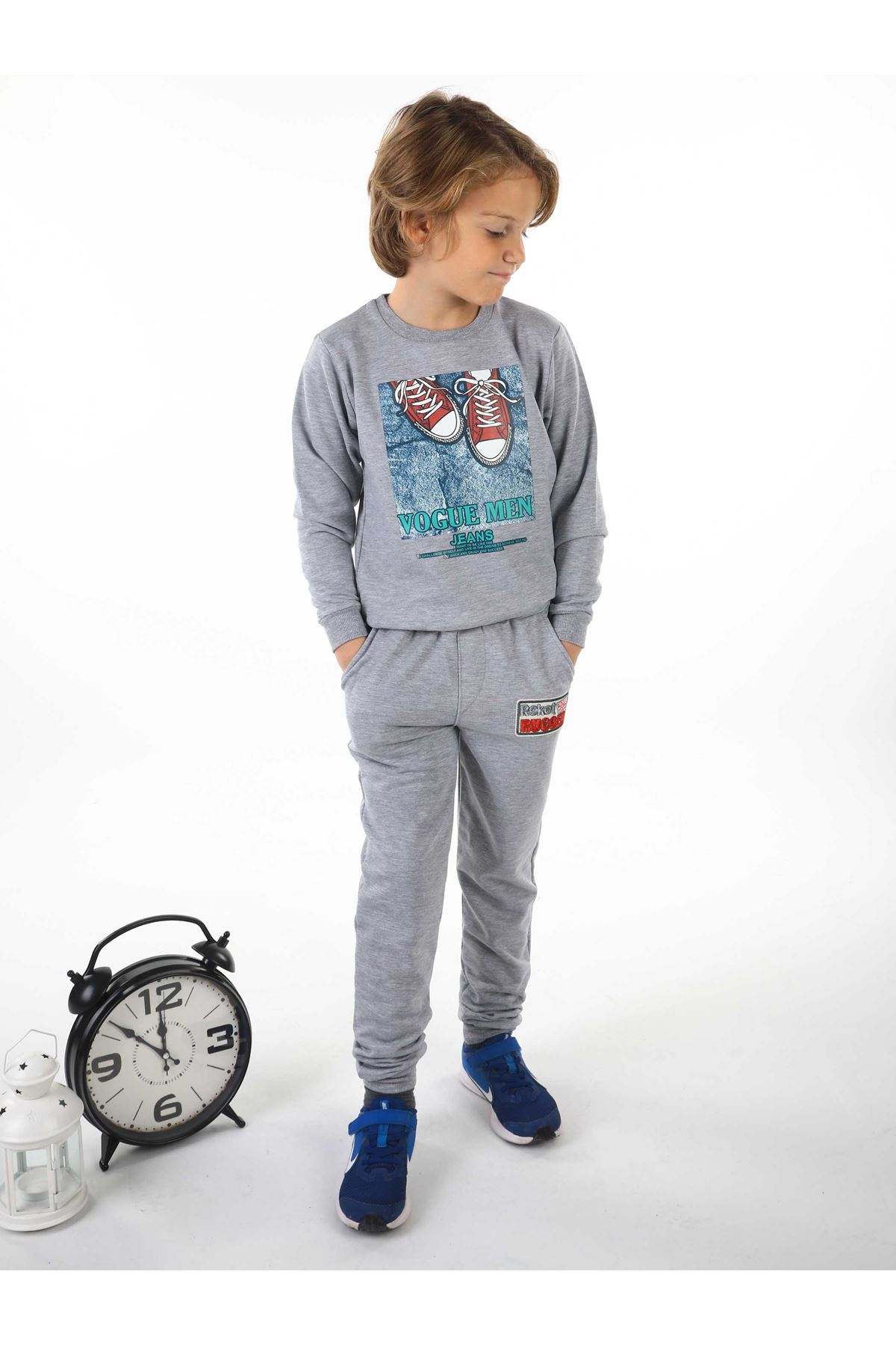 Gri Mevsimlik Erkek Çocuk Sweatshirt