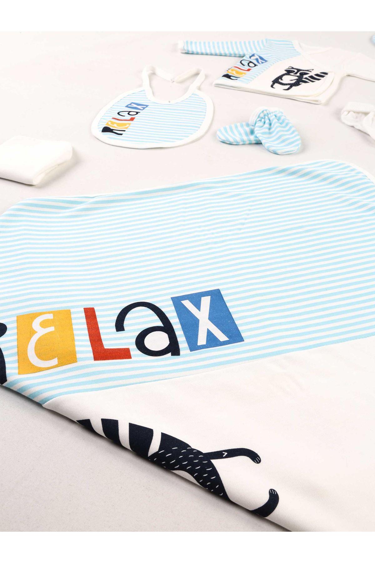 Turkuaz Beyaz Relax 10 lu Yenidoğan Erkek Bebek Hastane Çıkışı