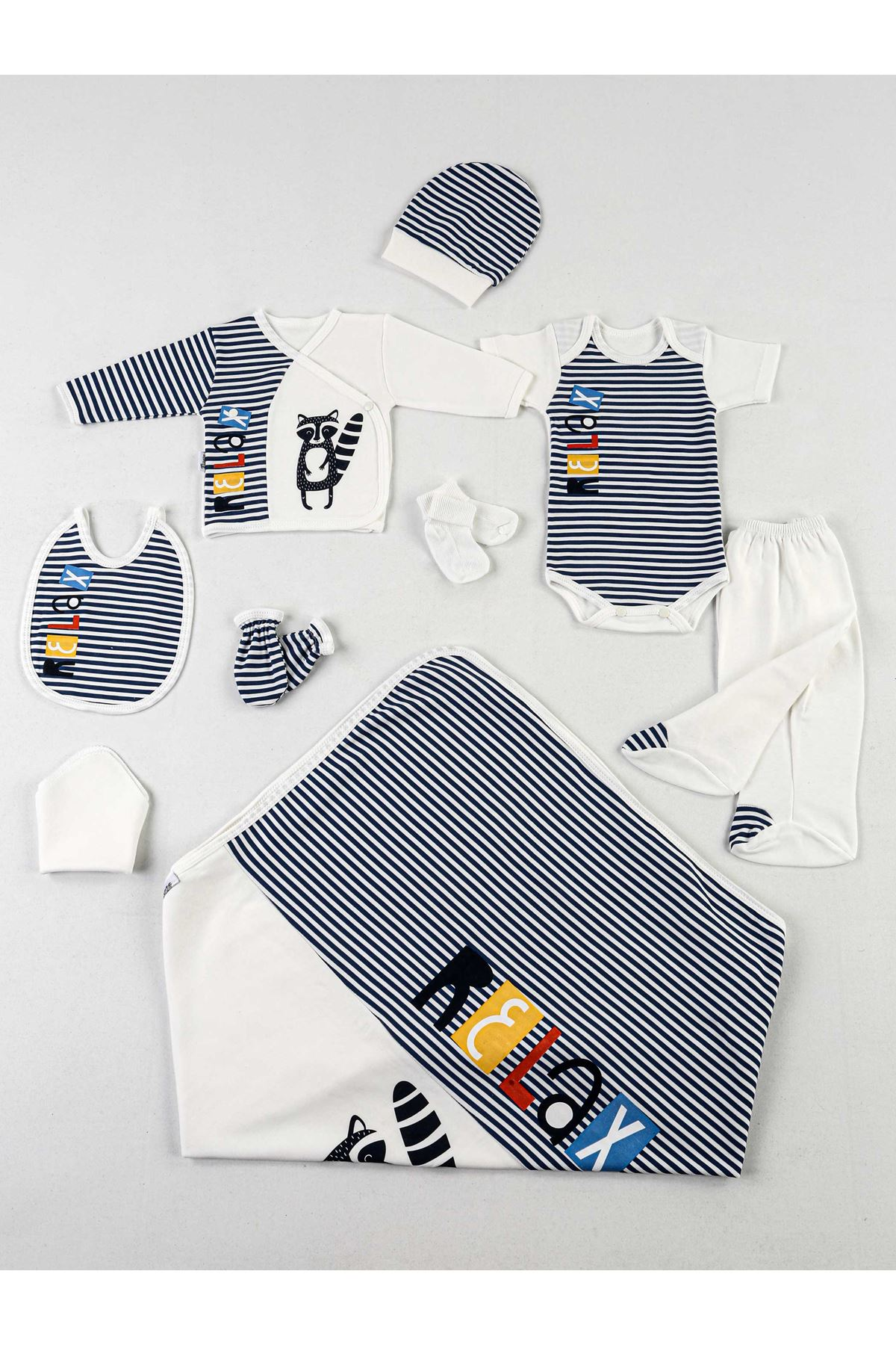 Lacivert Beyaz Relax 10 lu Yenidoğan Erkek Bebek Hastane Çıkışı