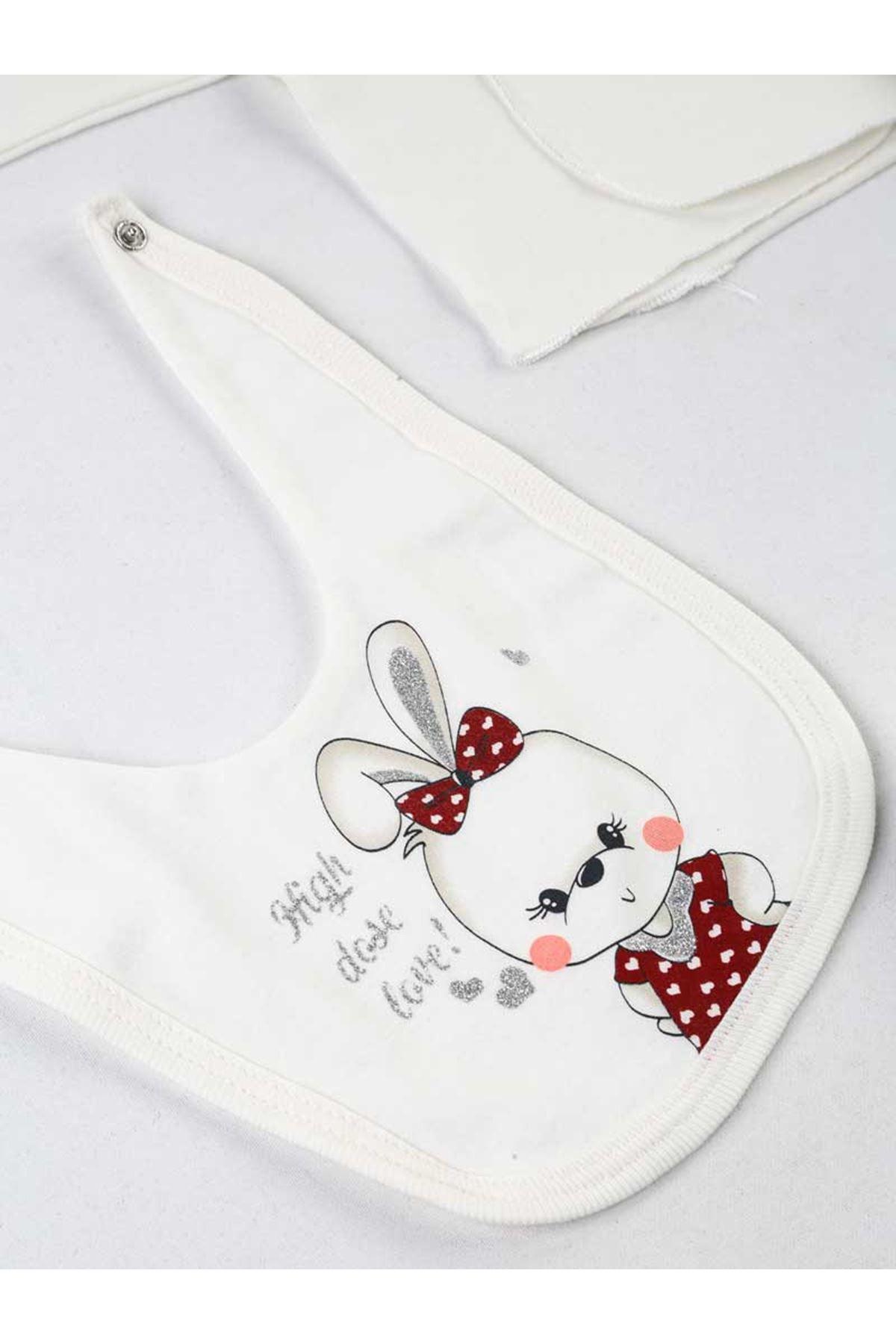 Kırmızı Beyaz Tavşanlı 10 lu Yenidoğan Kız Bebek Hastane Çıkışı