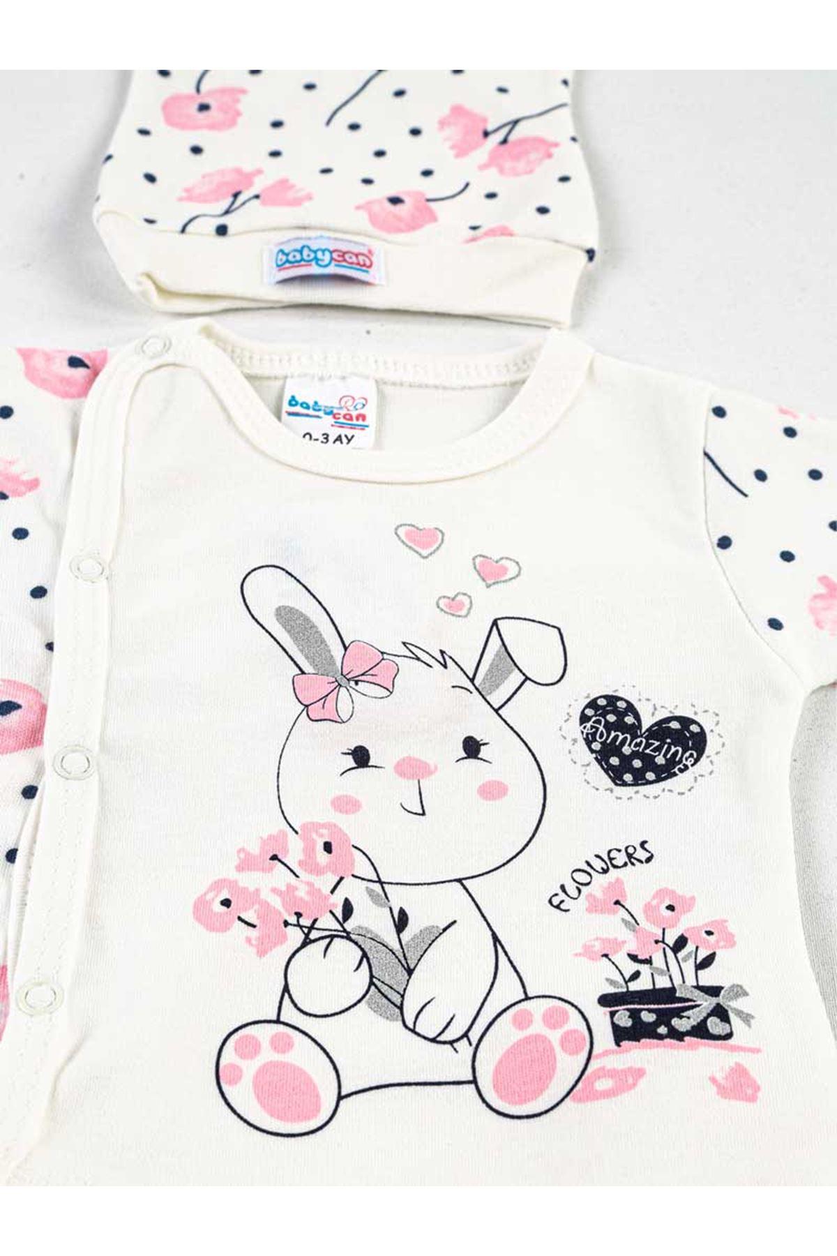 Pembe Beyaz Tavşanlı 3 lü Kız Bebek Zıbın Takım