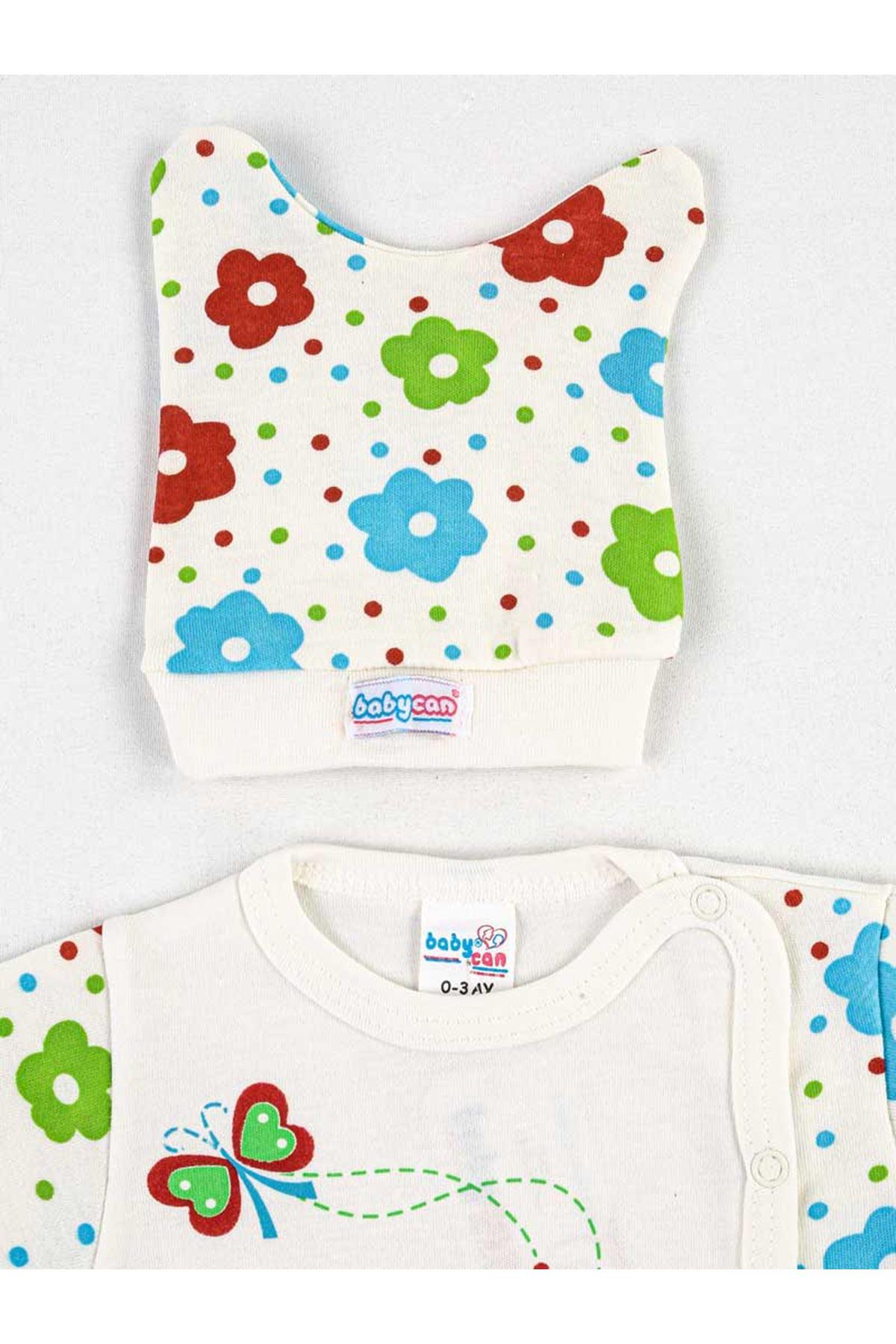 Beyaz Renkli Çicekli 3 lü Kız Bebek Zıbın Takım