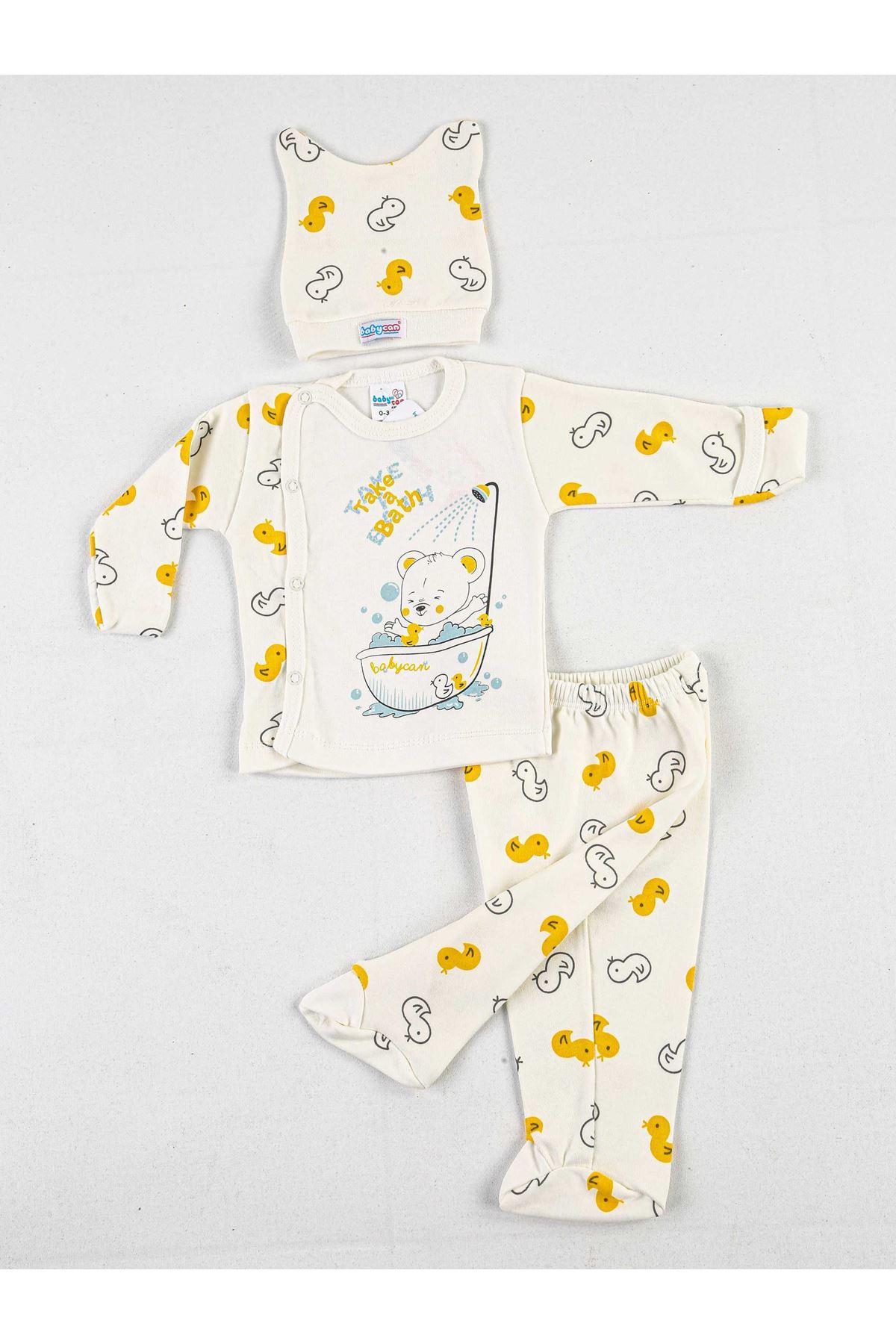 Krem Sarı Ördekli 3 lü Bebek Zıbın Takım