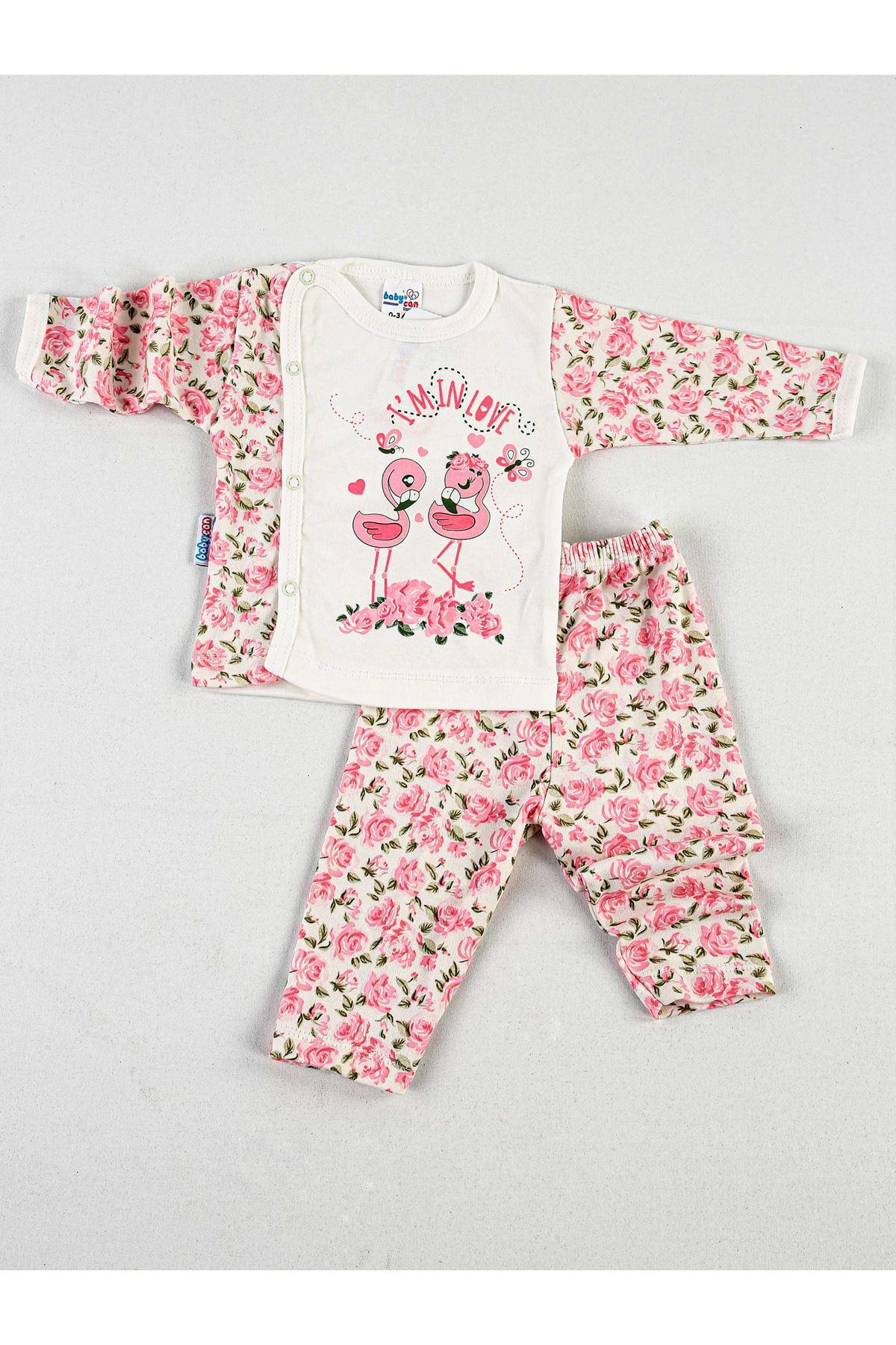 Pembe Beyaz Güllü 2 li Kız Bebek Zıbın Takım
