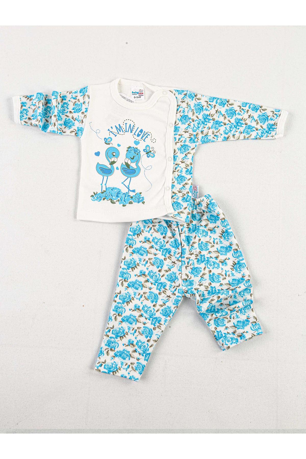 Mavi Beyaz Güllü 2 li Kız Bebek Zıbın Takım