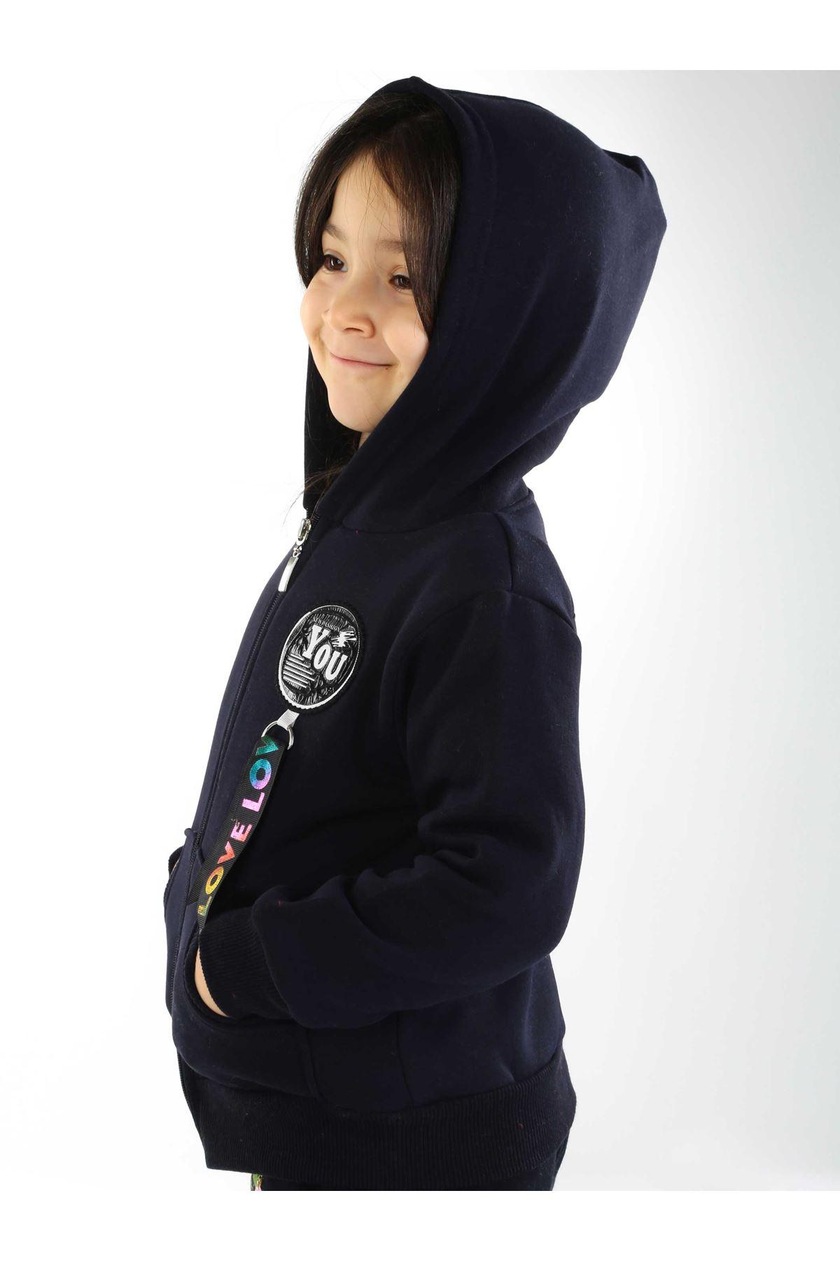 Lacivert Kışlık Kapüşonlu Kız Çocuk Sweat