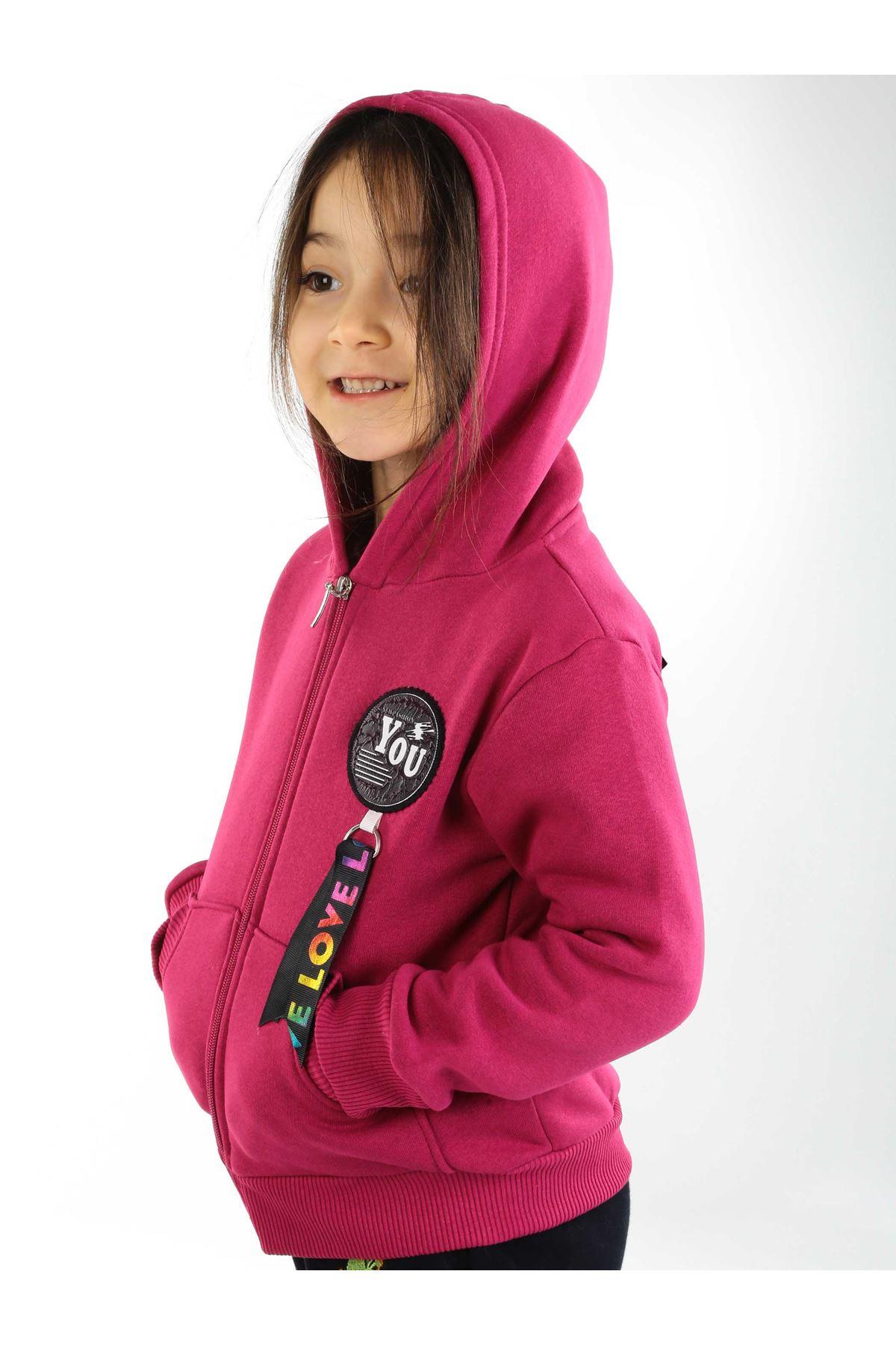 Mor Kışlık Kapüşonlu Kız Çocuk Sweat