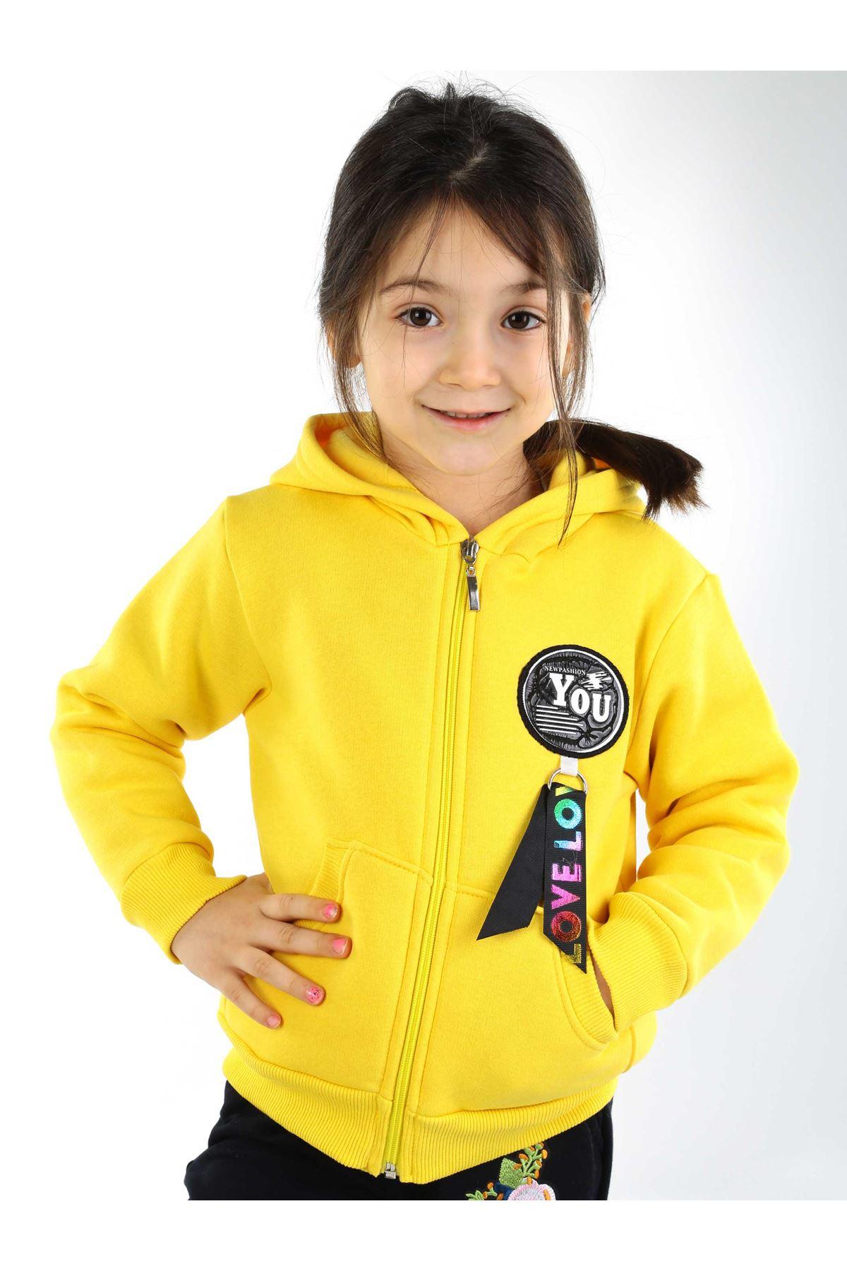 Sarı Kışlık Kız Çocuk Sweat