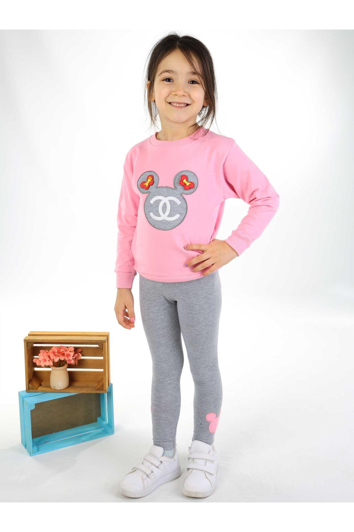 Açık Pembe Gri 2 li Kız Çocuk Taytlı Takım