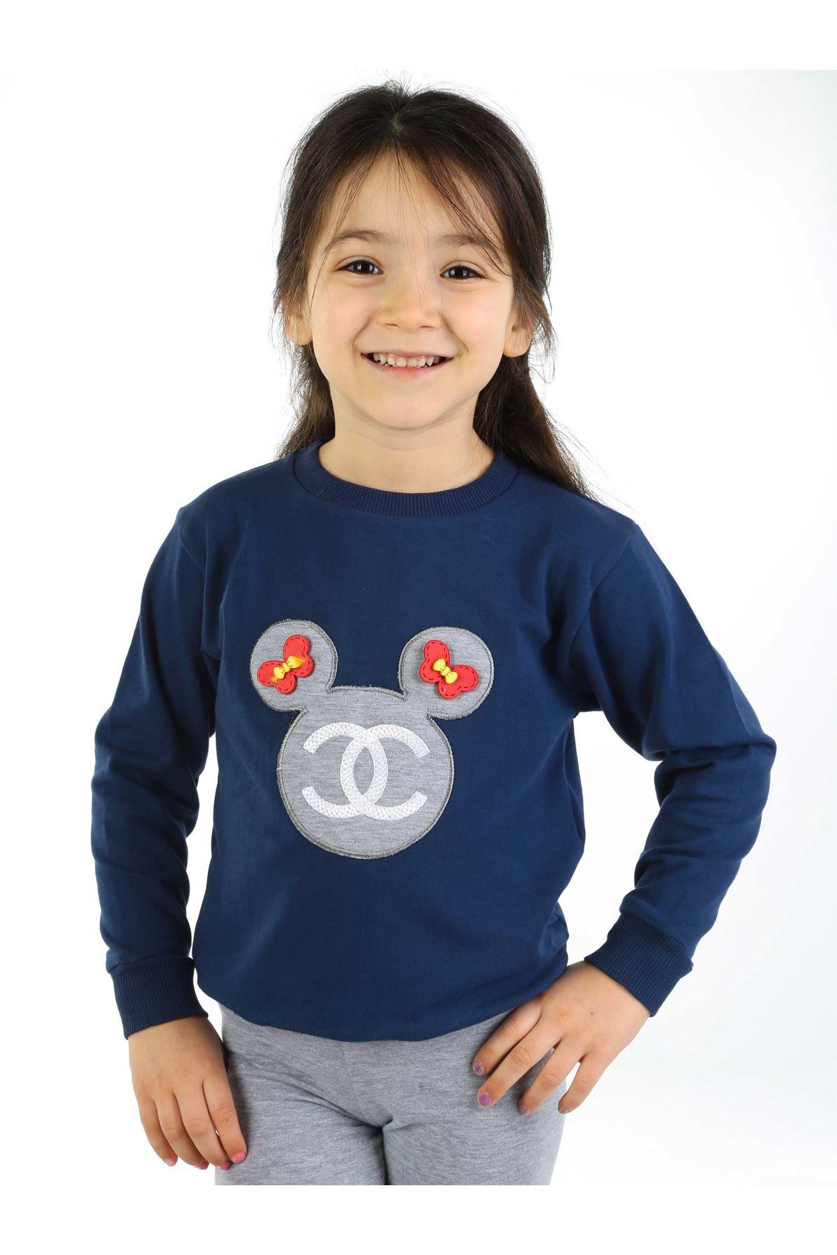 Gri Lacivert 2 li Kız Çocuk Taytlı Takım