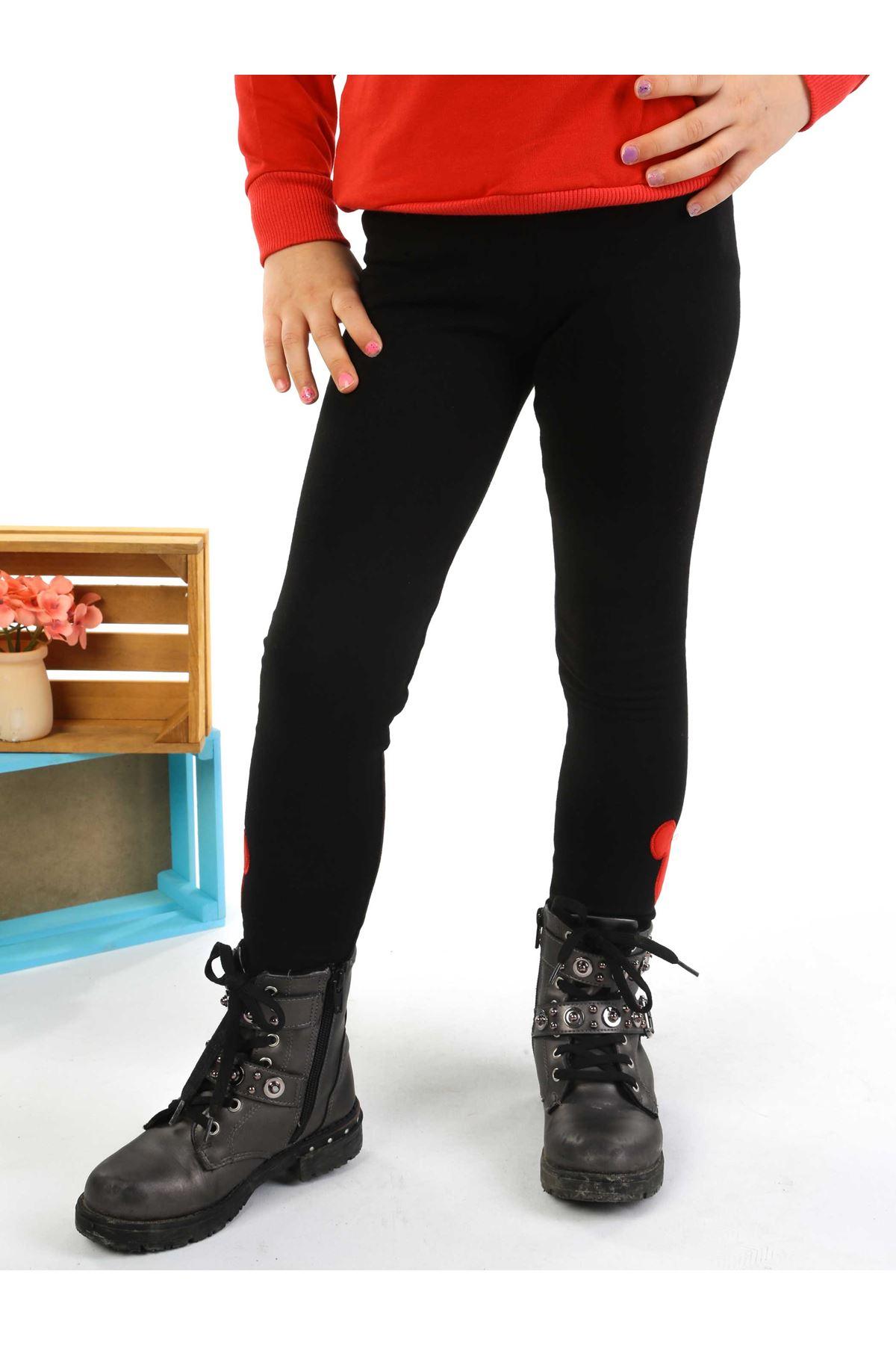 Kırmızı Siyah 2 li Kız Çocuk Taytlı Takım