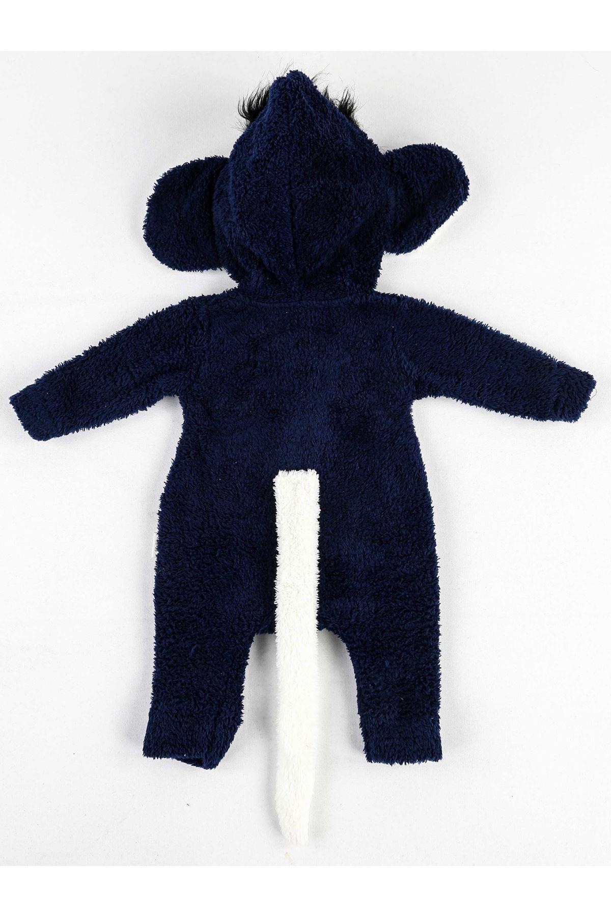Lacivert Kışlık Erkek Bebek Pelüş Tulum
