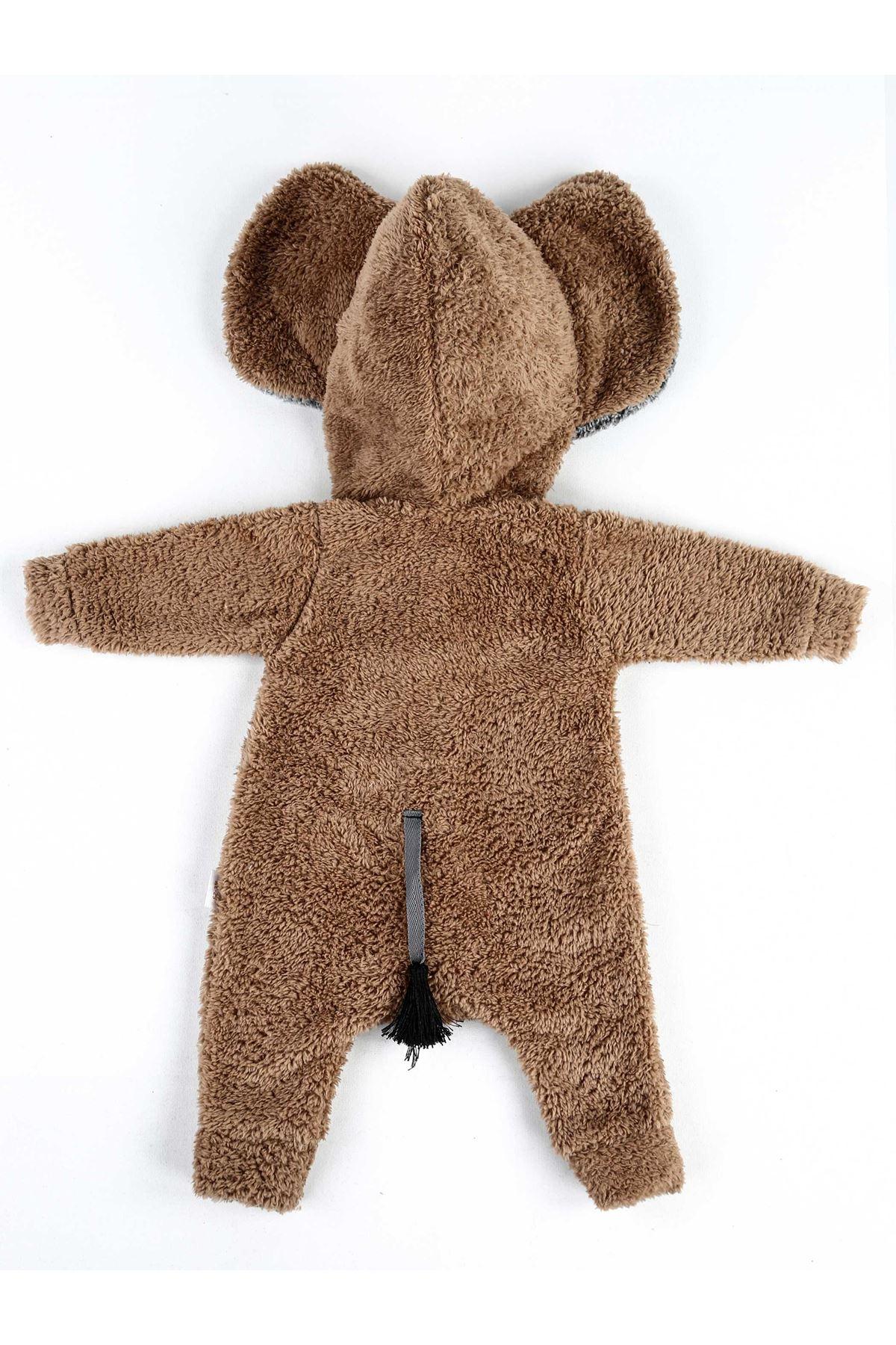 Kahverengi Kışlık Erkek Bebek Pelüş Tulum