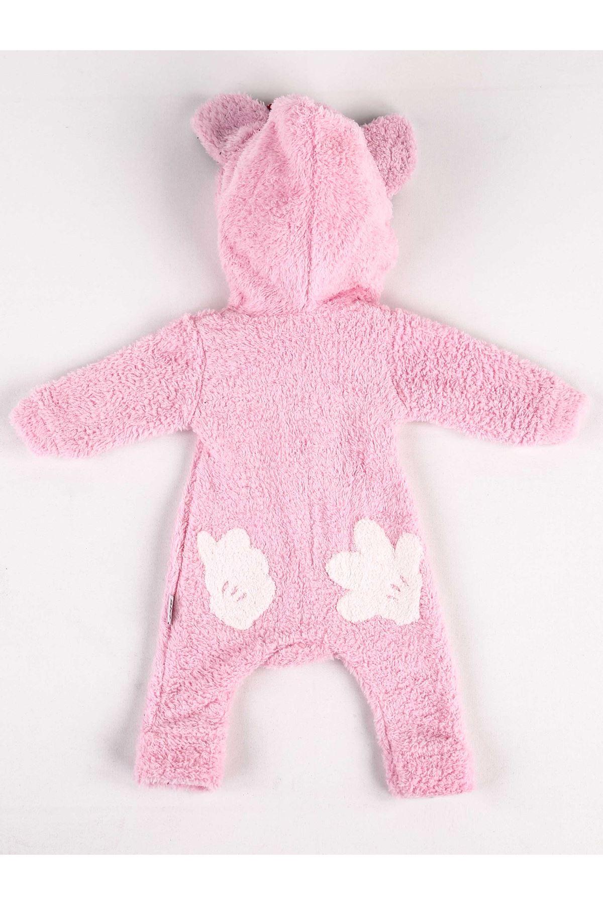 Pembe Kışlık Kız Bebek Pelüş Tulum