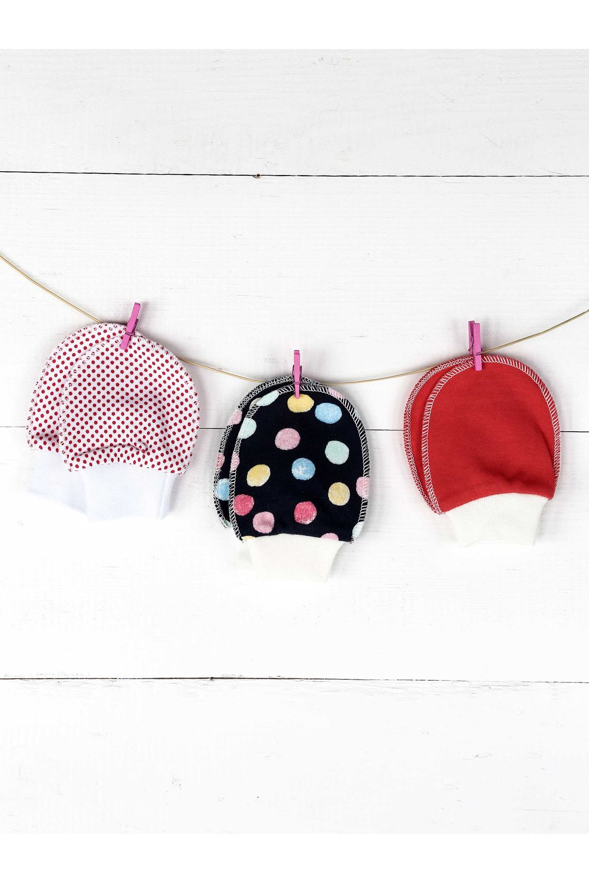 Renkli 3lü Kız  Bebek  Eldiven