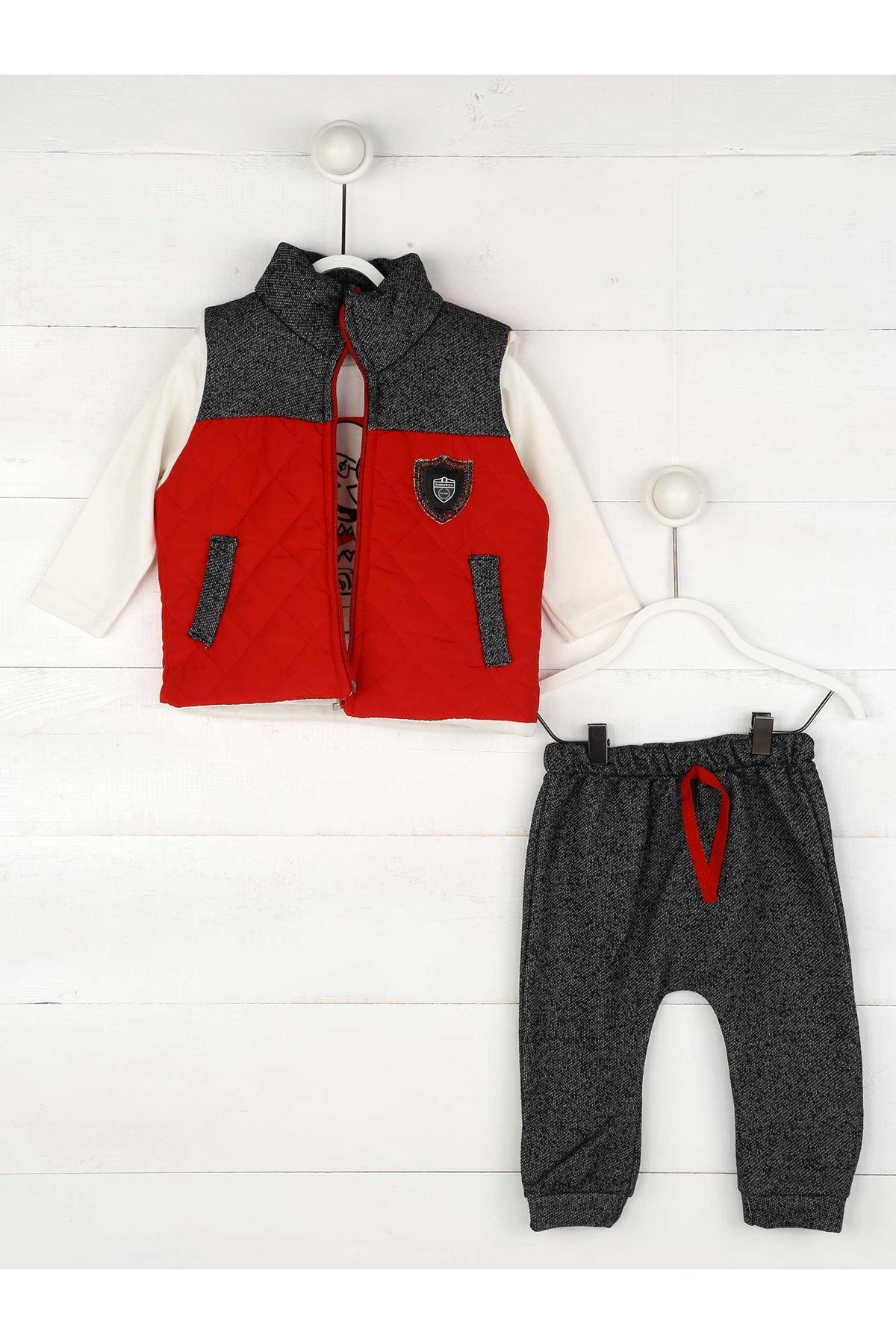 Kırmızı Gri Erkek Bebek 3lü Tkım