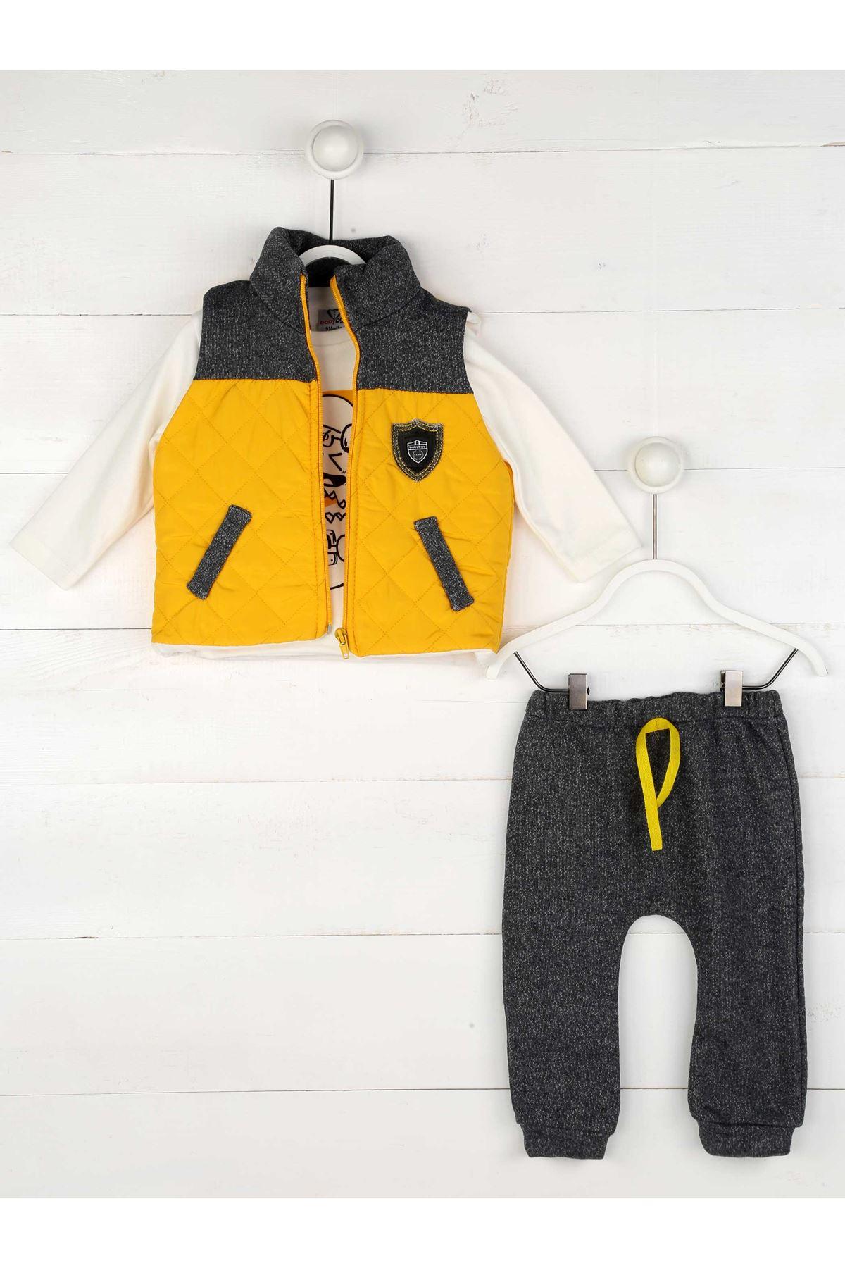 Sarı Gri Erkek Bebek 3lü Takım