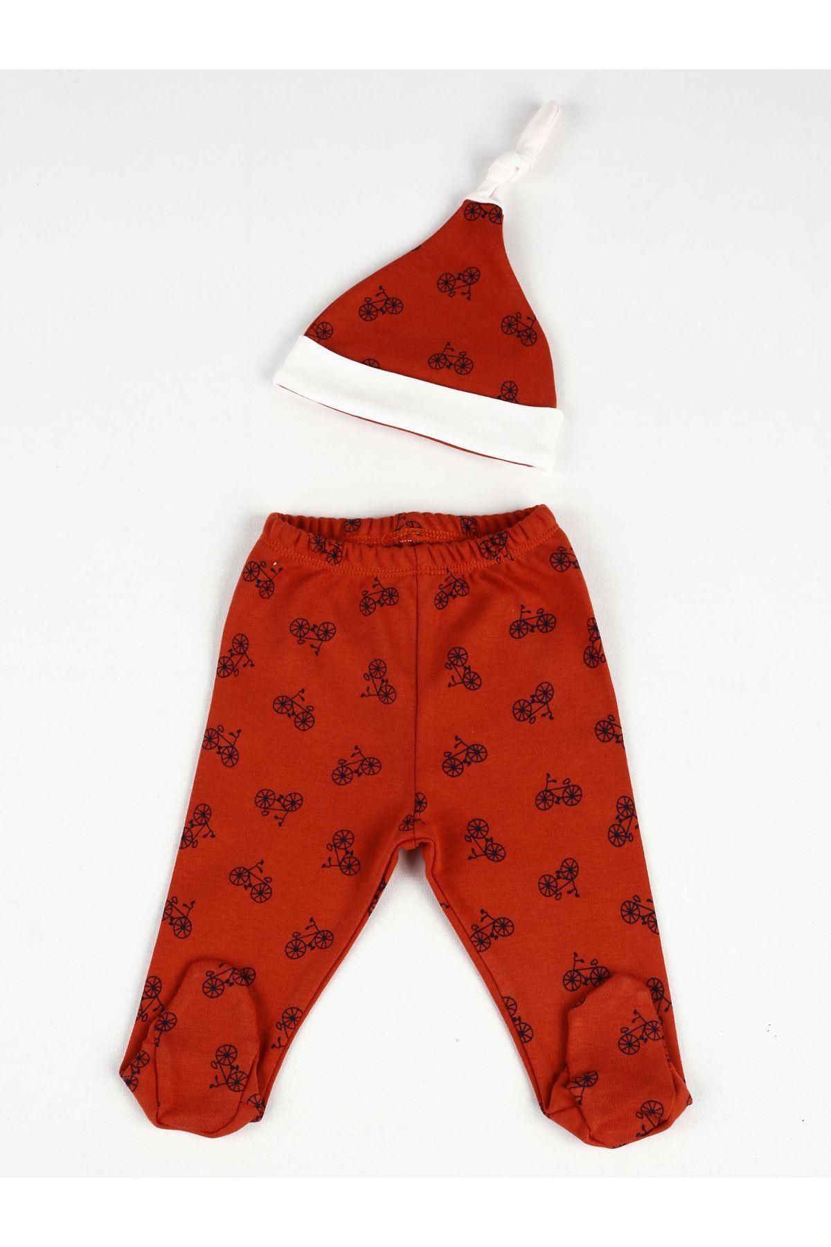 Kırmızı Desenli Erkek Bebek Şapkalı Patikli Alt