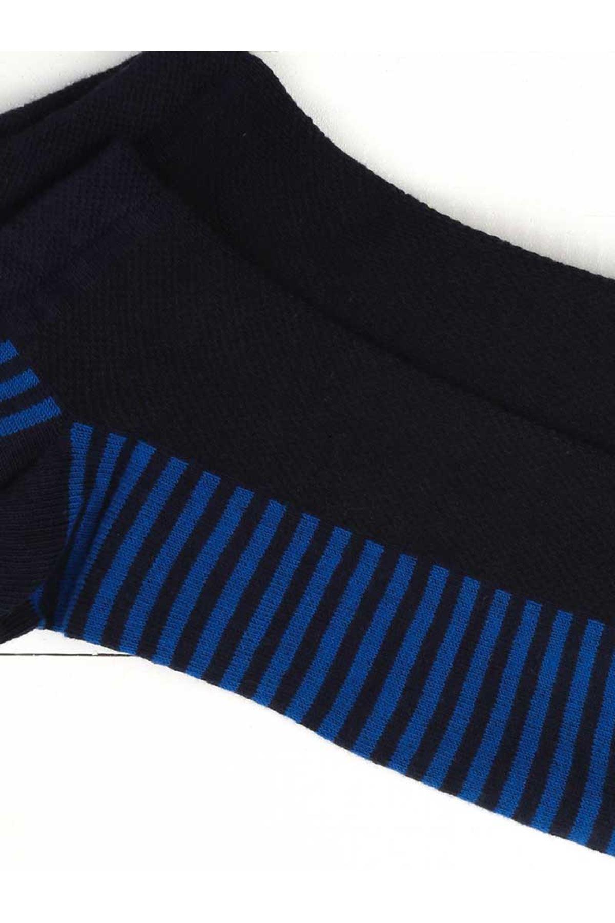 Lacivert Sax Çizgili Parfümlü Erkek Patik Çorap