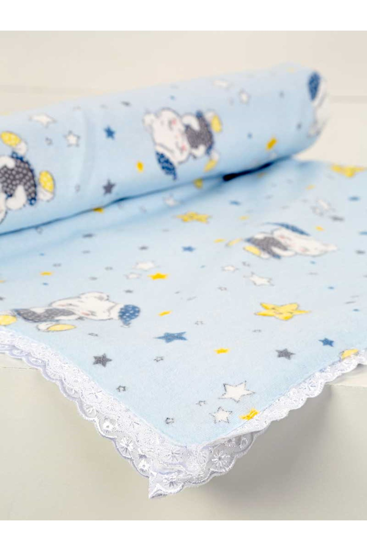 Açık Mavi Çift Kat Erkek Bebek Pazen Battaniye