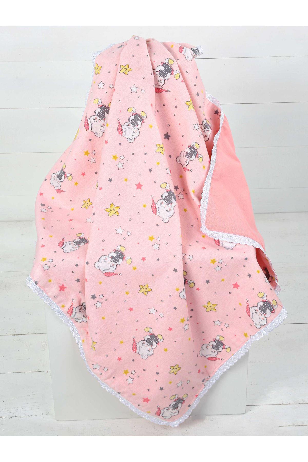 Açık Pembe Çift Kat Kız Bebek Pazen Battaniye