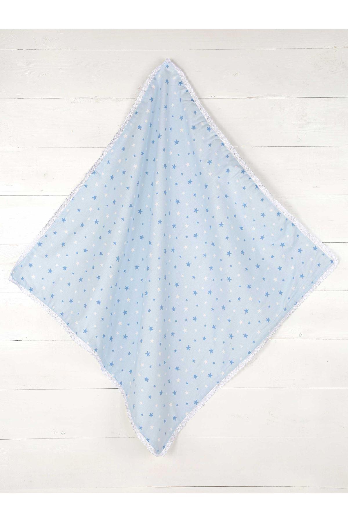 Mavi Çift Kat Erkek Bebek Pazen Battaniye