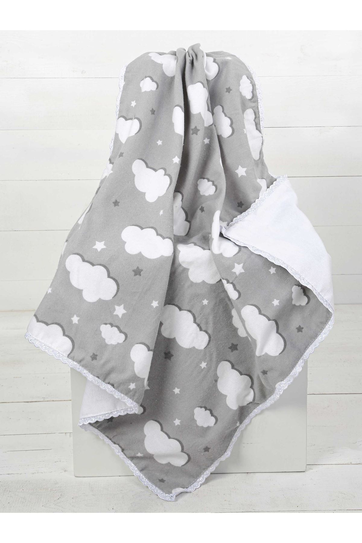 Gri Çift Kat Erkek Bebek Pazen Battaniye