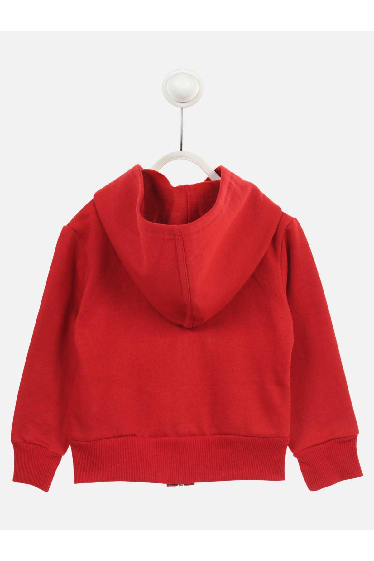 Kırmızı Mevsimlik Kapüşonlu Kız Çocuk Sweat