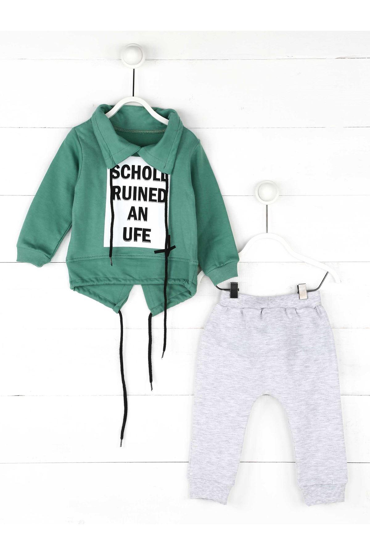 Mint Yeşili Gri Mevsimlik Erkek Çocuk 2li Takım