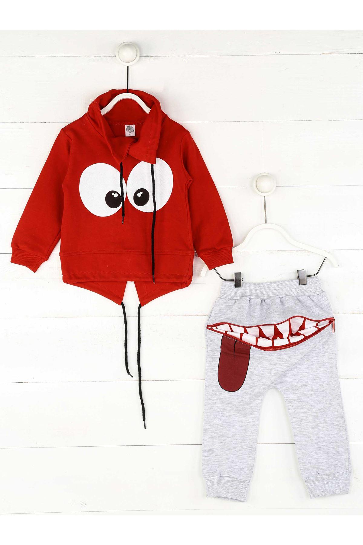 Kırmızı Gri Mevsimlik Erkek Çocuk 2 li Takım