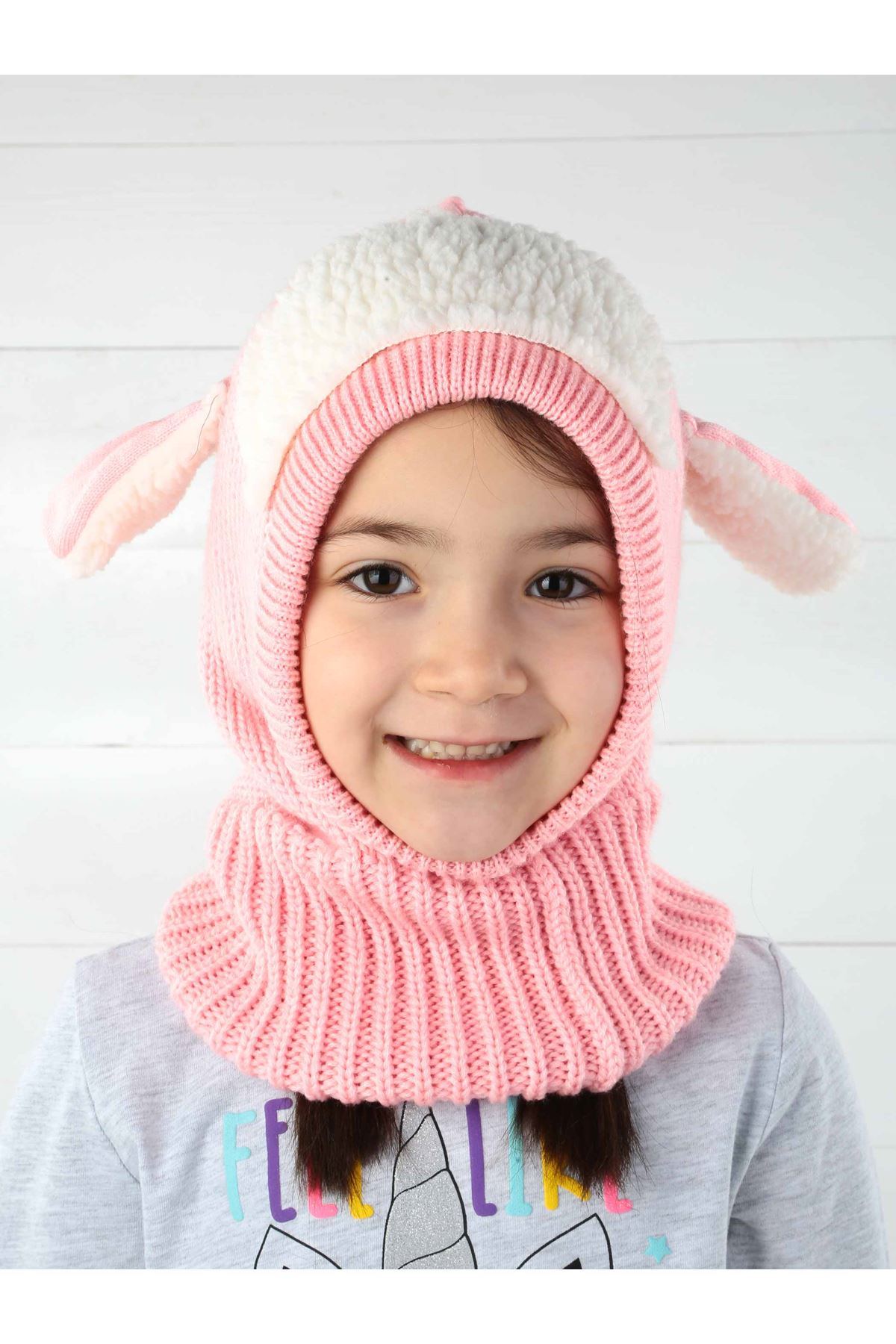 Pink Lamb Knitted Kid Beanie with Scarf