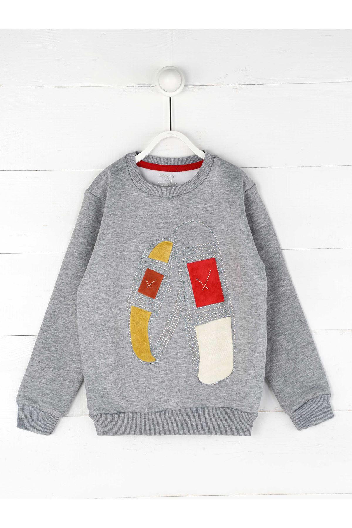Gray Winter Female Child Sweatshirt