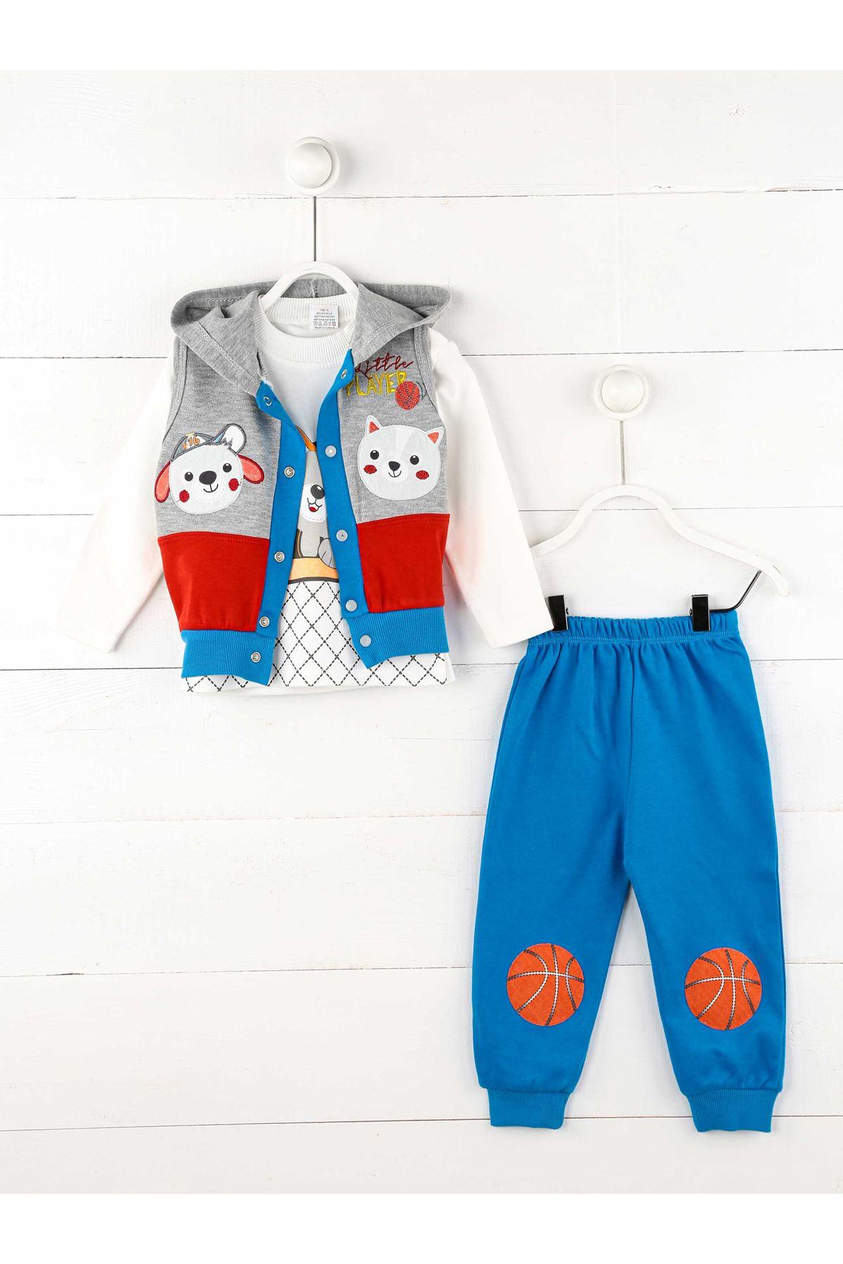 Mavi Gri Mevsimlik Erkek Bebek 3lü Takım