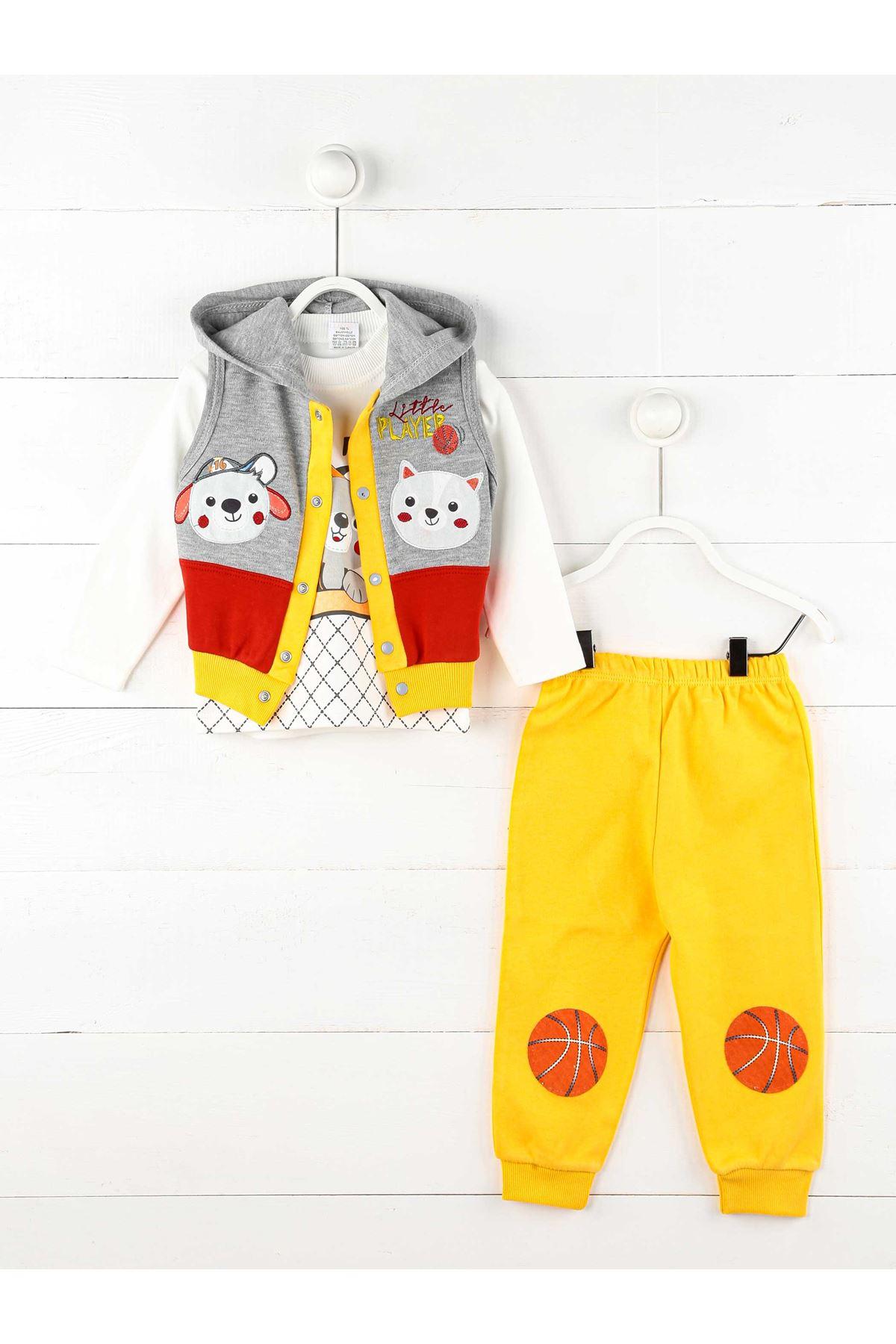 Sarı Kırmızı Mevsimlik Erkek Bebek 3lü Takım