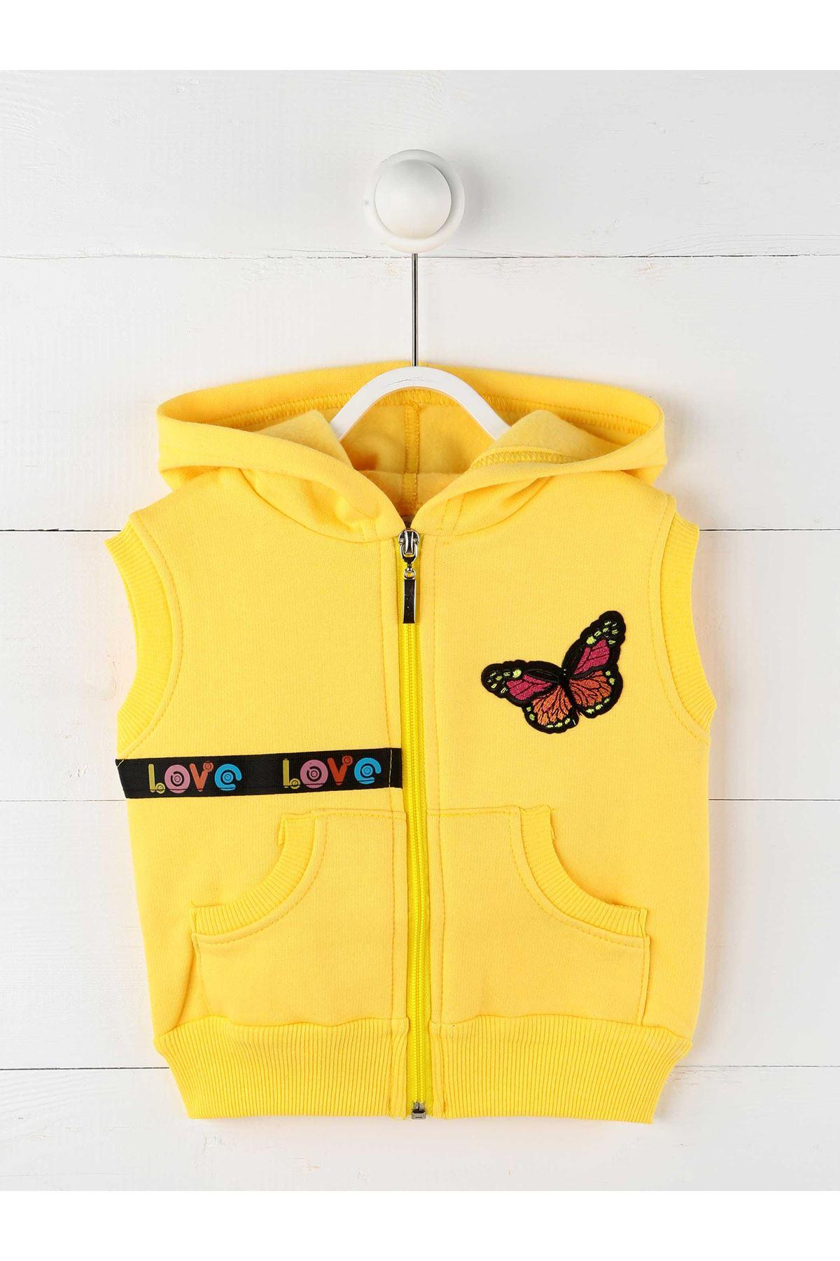 Sarı Kışlık Kapüşonlu Kız Çocuk Yelek