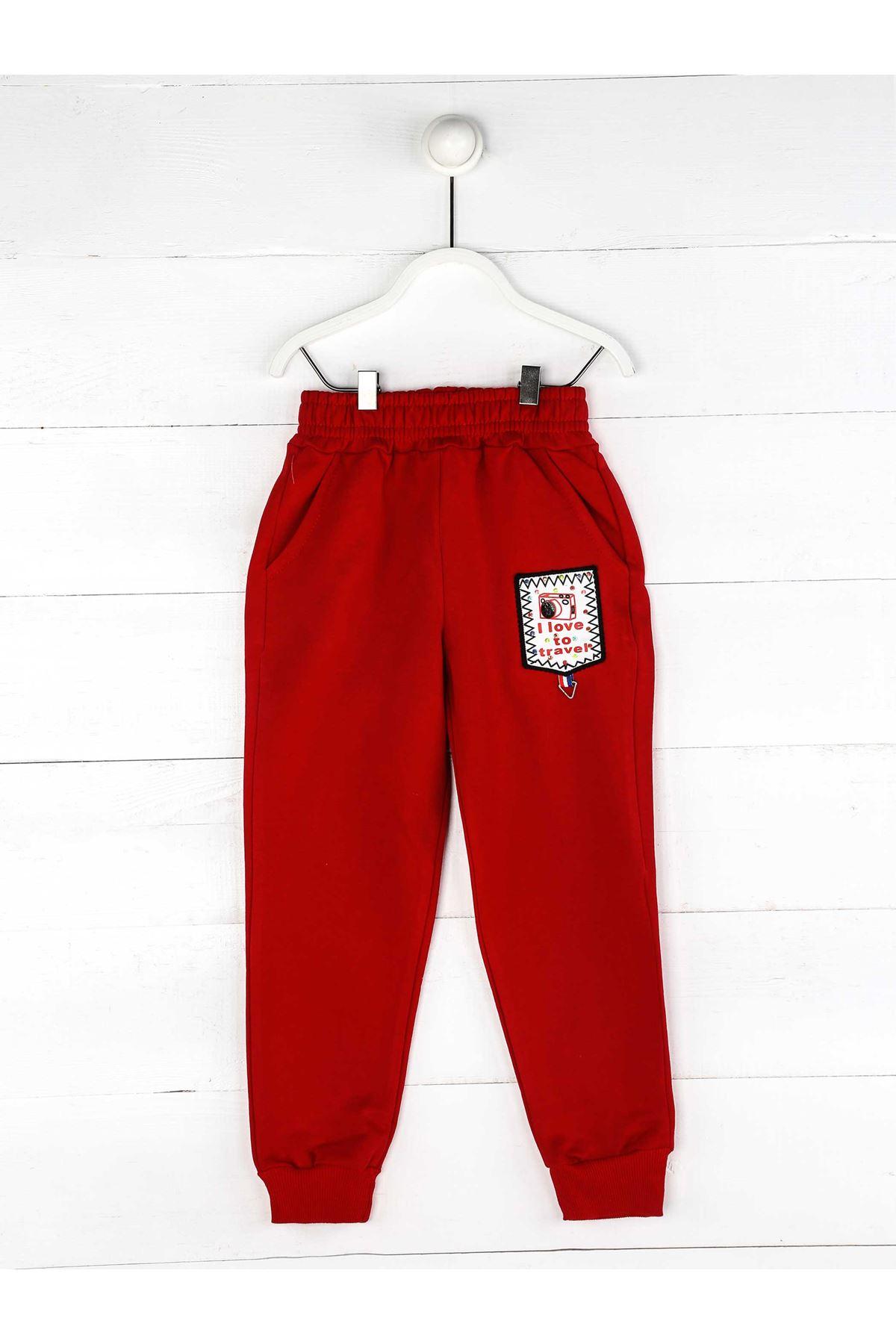 Kırmızı Mevsimlik Kız Çocuk Eşofman Altı