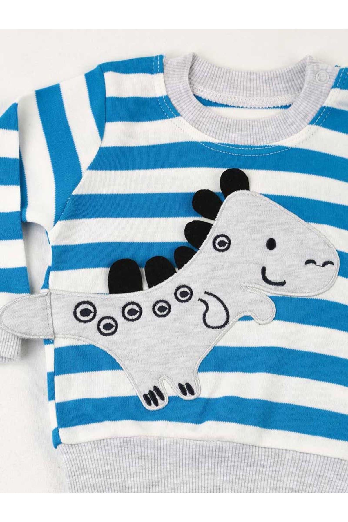 Mavi Gri Erkek Bebek 2 li Takım