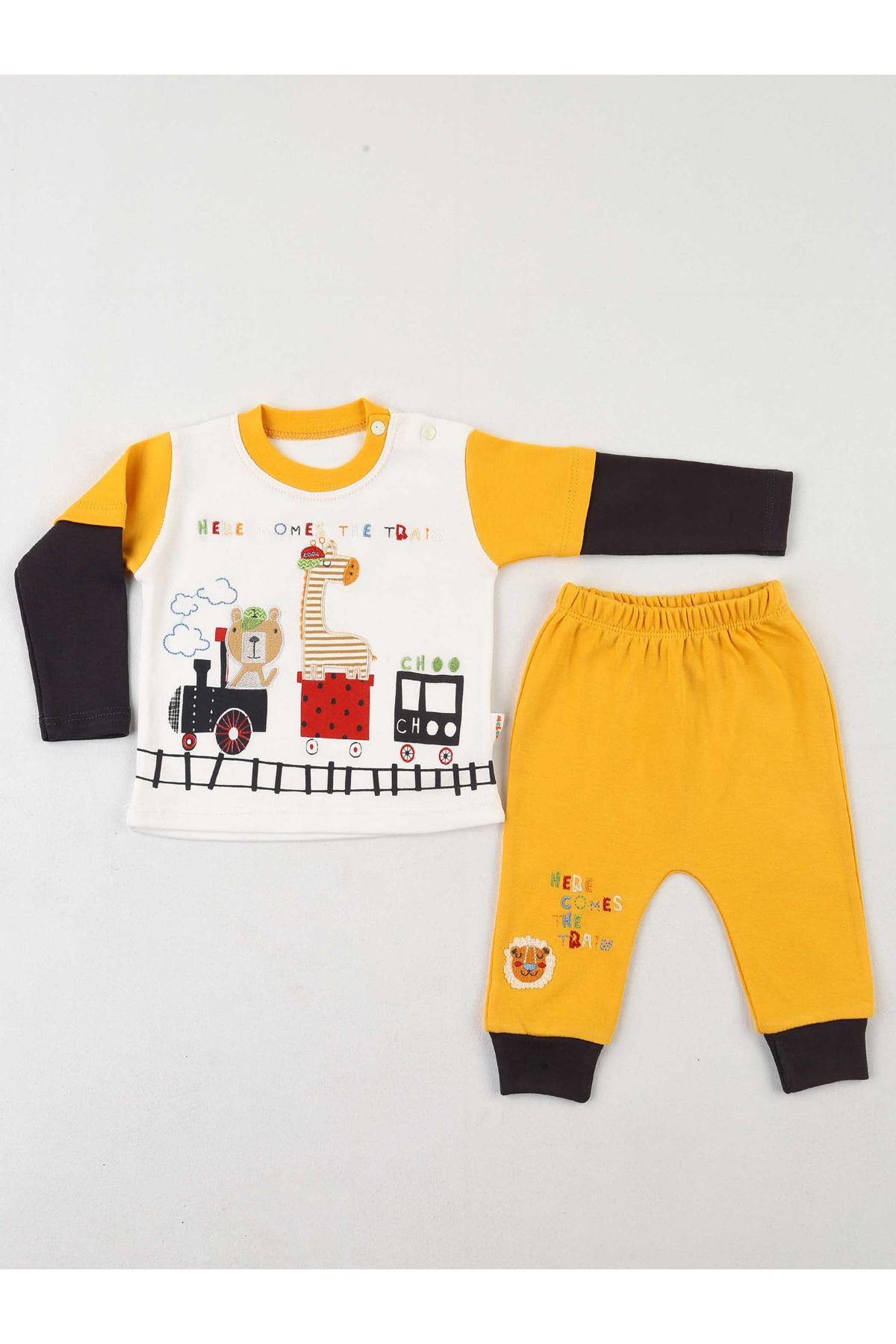 Sarı Krem Erkek Bebek 2 li Takım