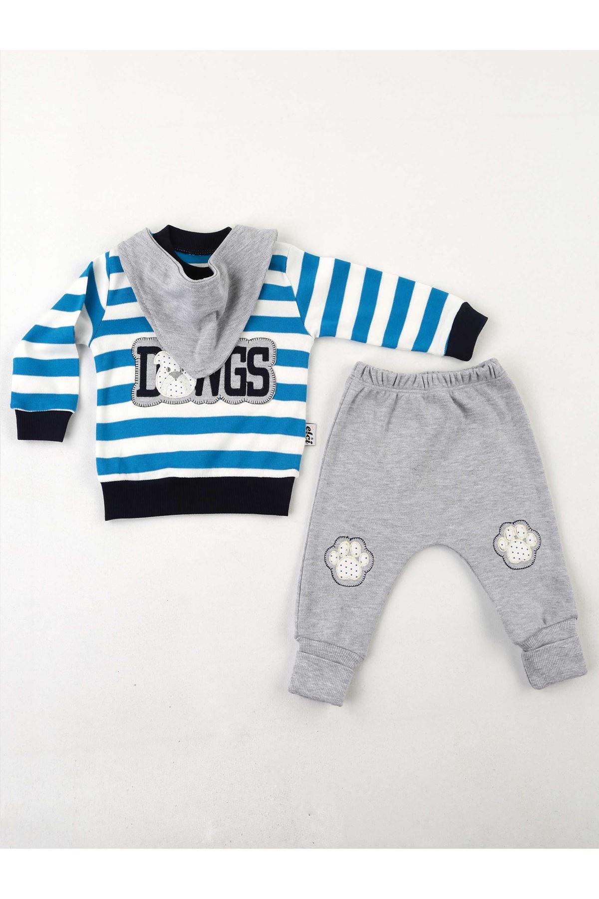 Mavi Gri Erkek Bebek 3 lü Takım