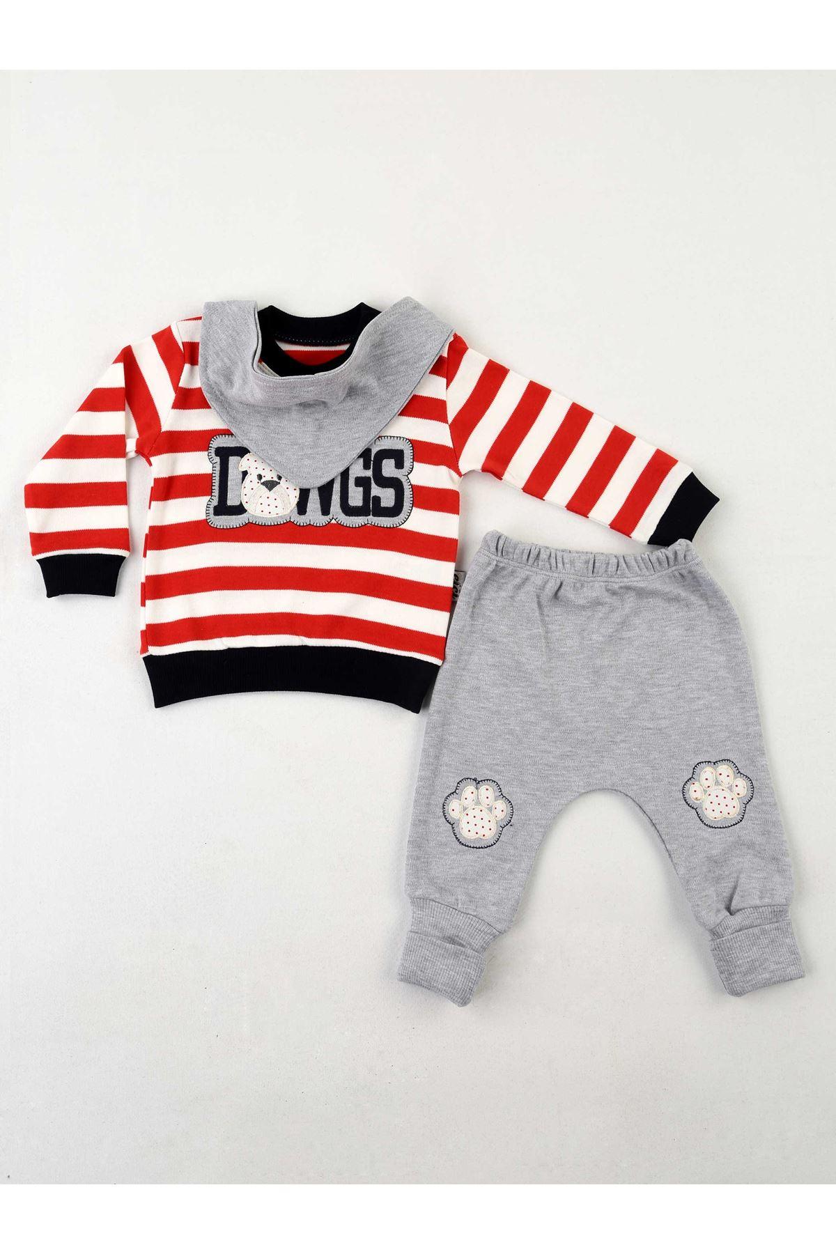 Kırmızı Gri Erkek Bebek 3 lü Bebek