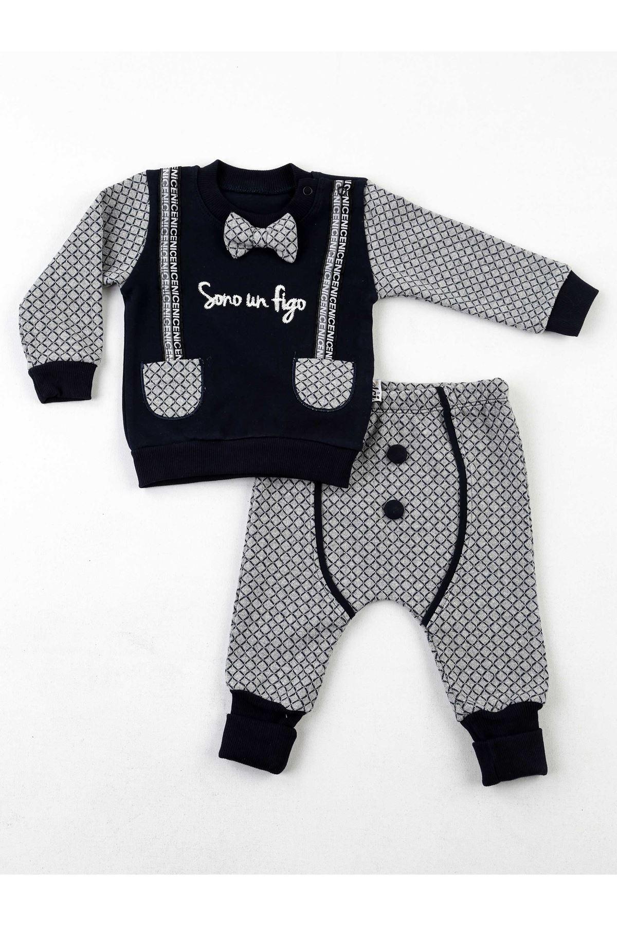 Lacivert Gri Erkek Bebek 2 li Takım