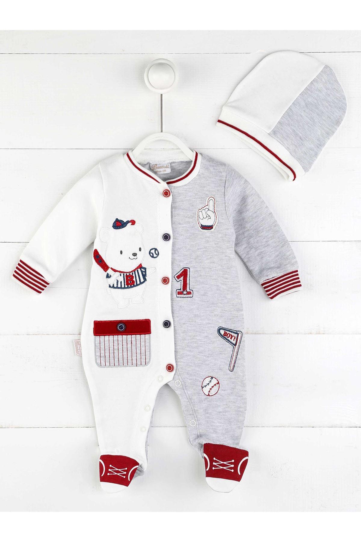 Kırmızı Beyaz Erkek Bebek Yenidoğan Şapkalı Tulum