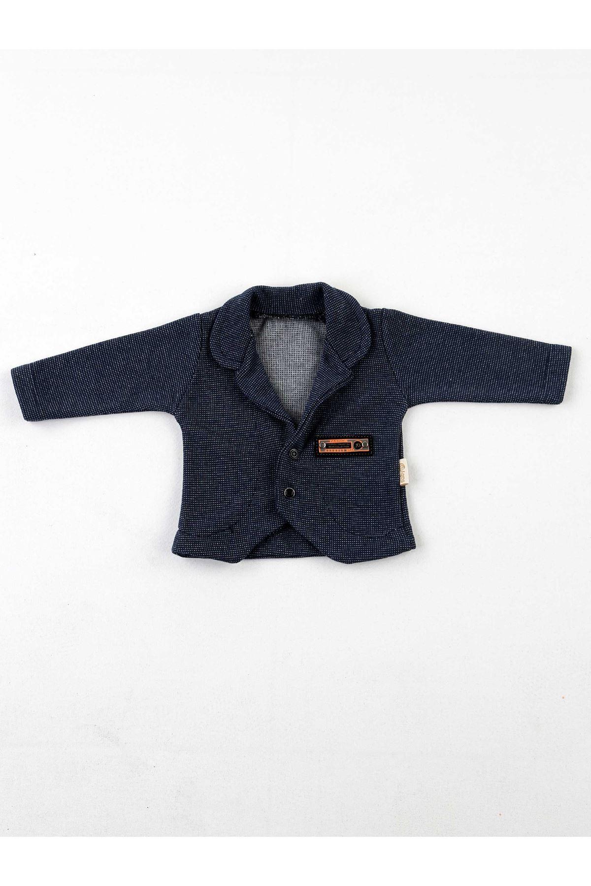 Lacivert Mevsimlik  Erkek Bebek Ceketli Kravatlı 3 lü Takım