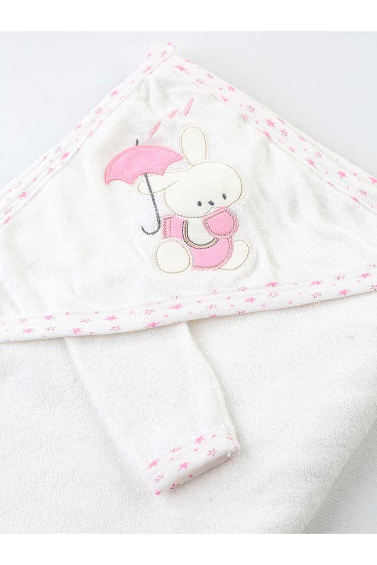 Pembe Beyaz Kız Bebek Pamuklu Kundak Banyo Havlusu