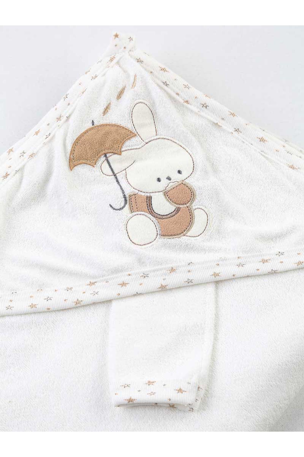 Açık Kahve Beyaz Erkek Bebek Pamuklu Kundak Banyo Havlusu