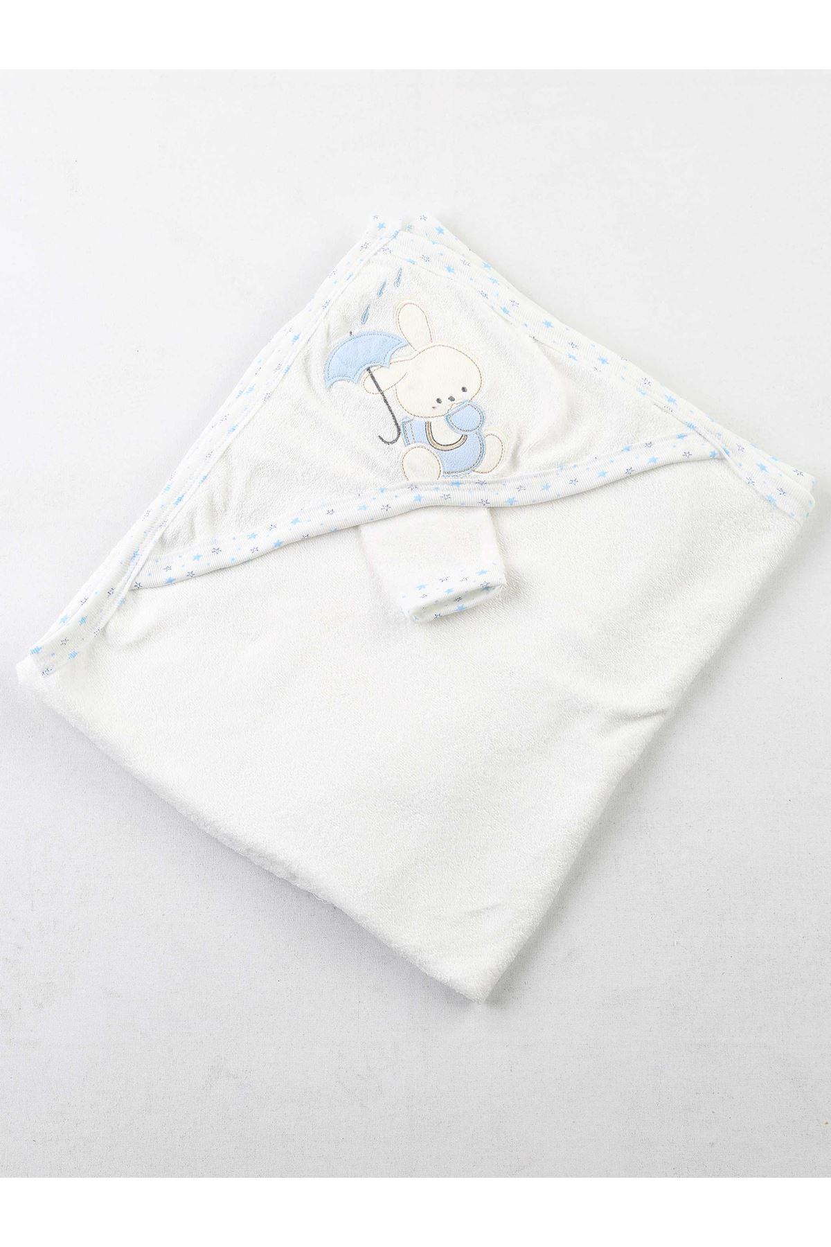 Mavi Beyaz Erkek Bebek Pamuklu Kundak Banyo Havlusu