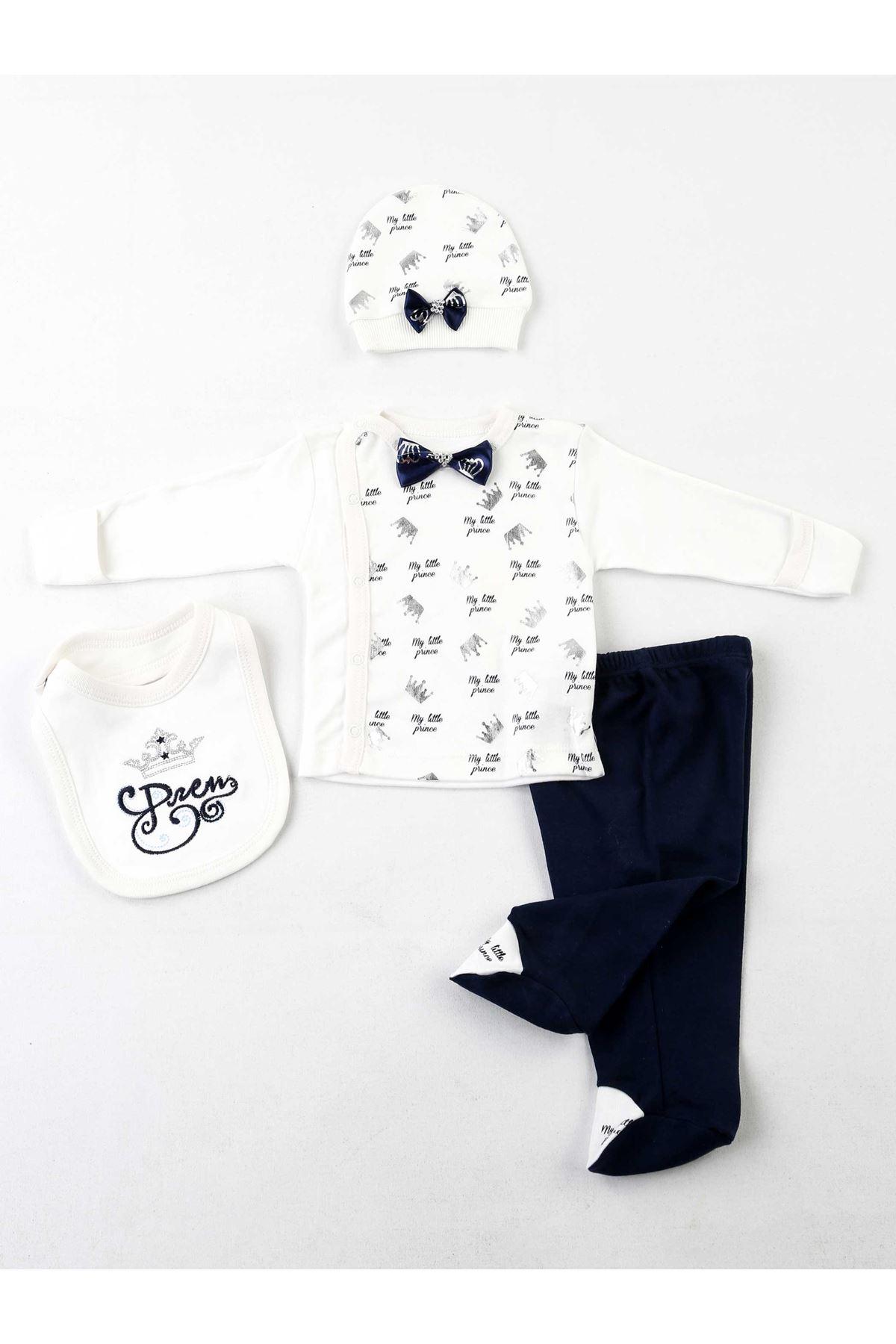 Beyaz Erkek Bebek 4 lü Zıbın Takım